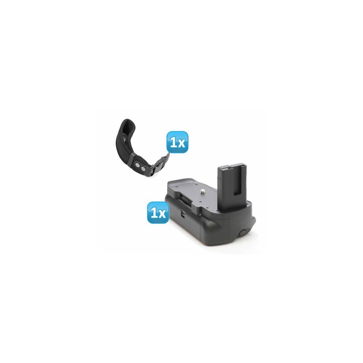 Minadax Profi Batteriegriff kompatibel mit Nikon D5300, D5200, D5100, inklusiv 1x Neopren Handgelenkschlaufe - hochwertiger Handgriff mit Hochformatauslöser - für 2x EN-EL14 Akkus