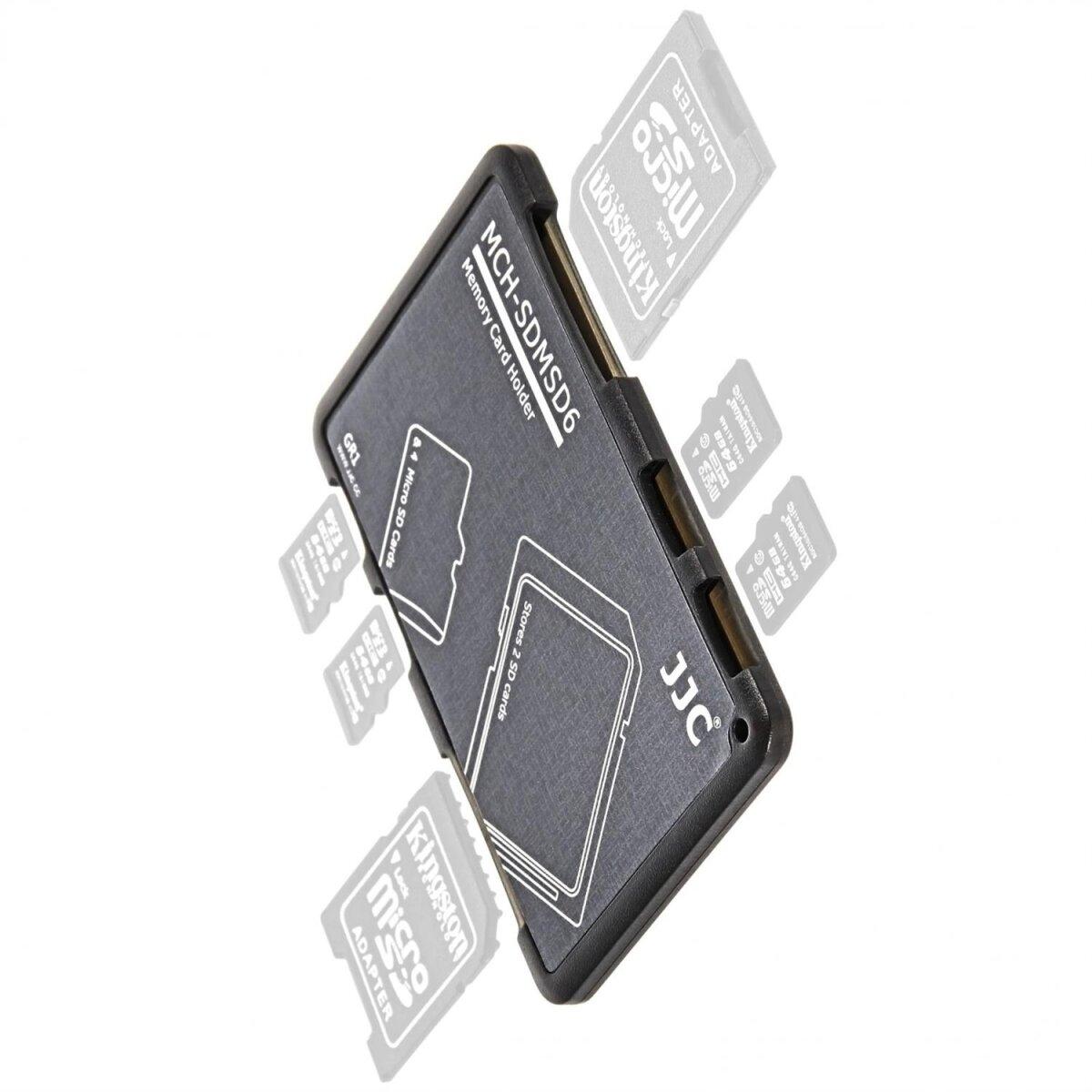 Extrem kompaktes Speicherkartenetui Aufbewahrungsbox im Kreditkarten-Format fuer 2 x SD SDHC SDXC und 4 x MicroSD - grau