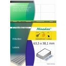 Minadax® 2100 Etiketten, auch fuer Amazon FBA, 63,5 x 38,1 mm, 21x je Blatt, 100 A4 Blaetter, permanent klebend, Made in Germany