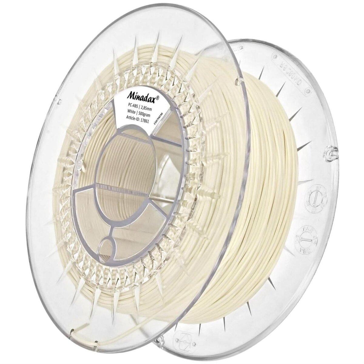 Minadax® 0,5 kg Premium Qualitaet 3mm (2,85mm) PC-ABS-Filament weiss fuer 3D-Drucker hergestellt in Europa