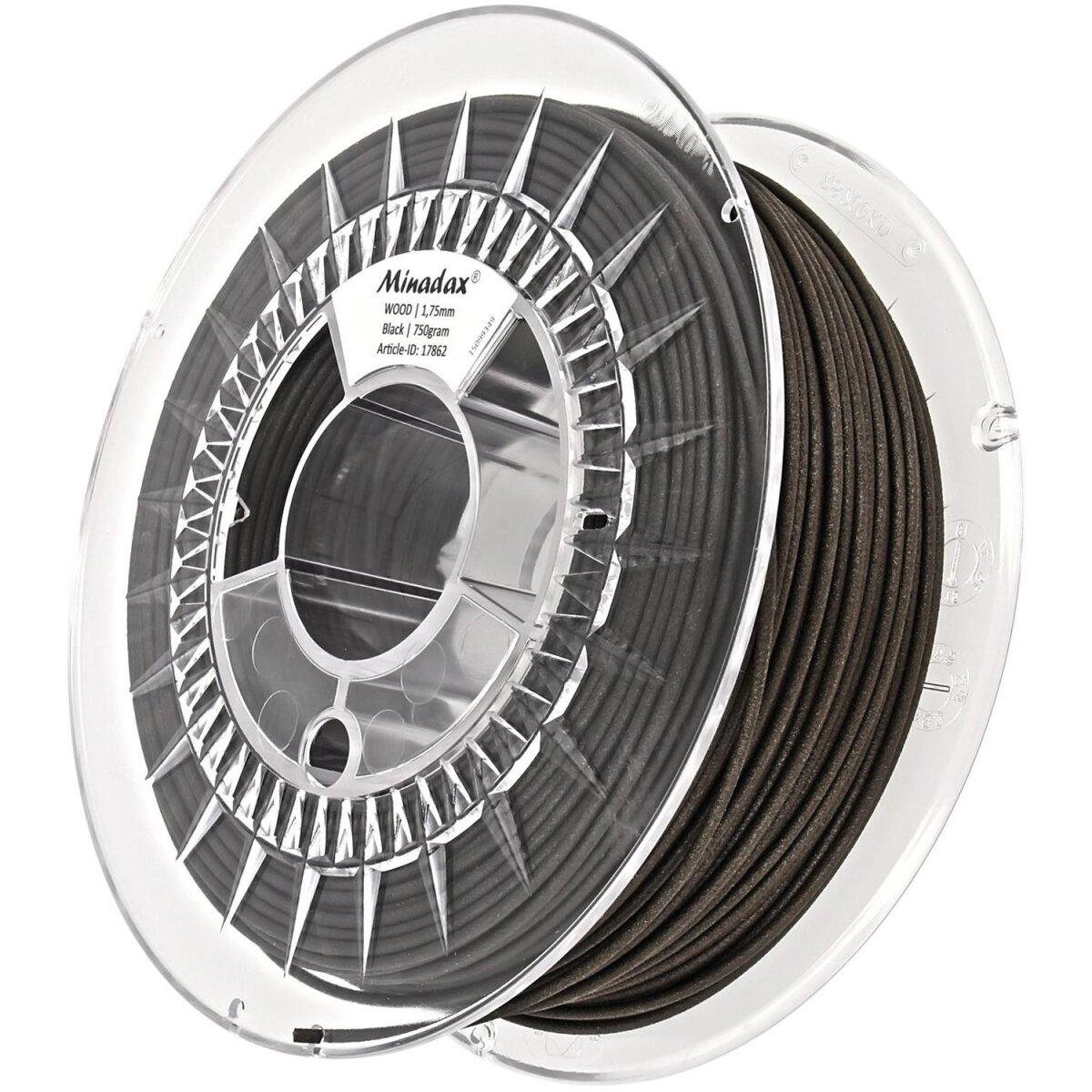 Minadax® 0,75kg Premium Qualitaet 1,75mm HOLZ-Filament schwarz fuer 3D-Drucker hergestellt in Europa