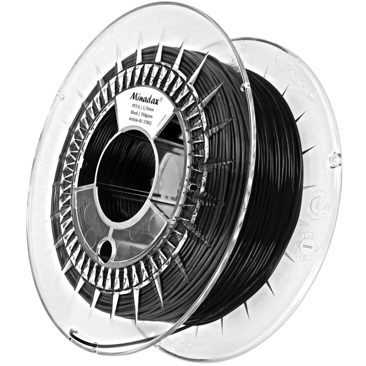 Minadax® 0,75kg Premium Qualitaet 1,75mm PET-Filament schwarz fuer 3D-Drucker hergestellt in Europa