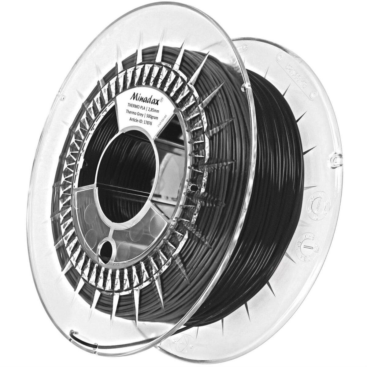 Minadax® 0,5kg Premium Qualitaet 3mm (2,85mm) THERMO-Filament grau fuer 3D-Drucker hergestellt in Europa
