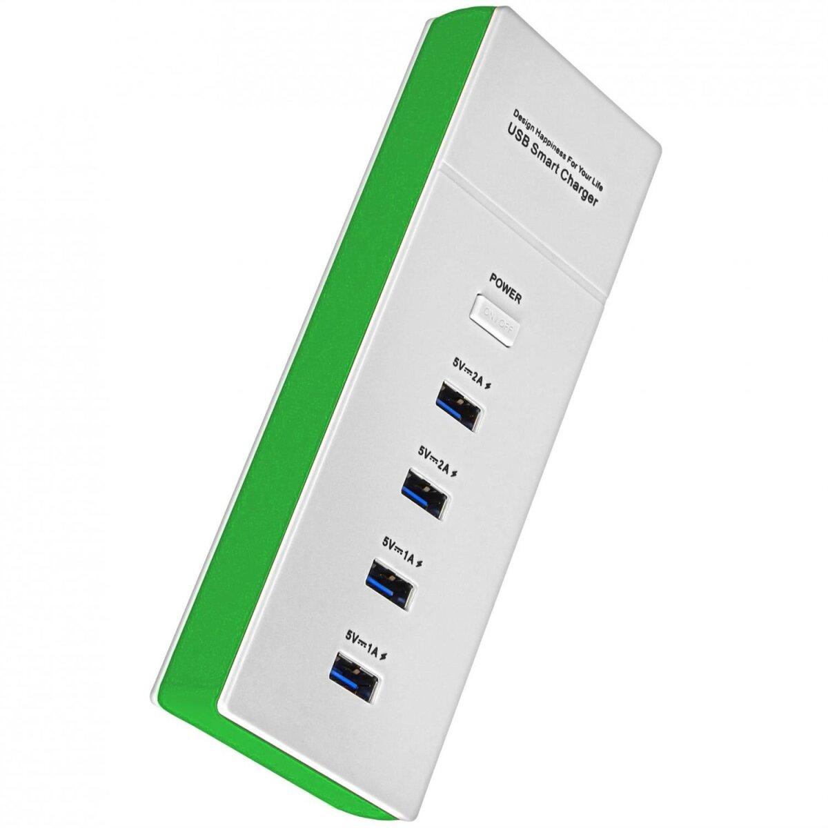 Minadax universelles 5 Volt 4,2 Ampere 4-Port USB Ladegeraet Leiste fuer Smartphone, Tablet PC etc in frischem Gruen