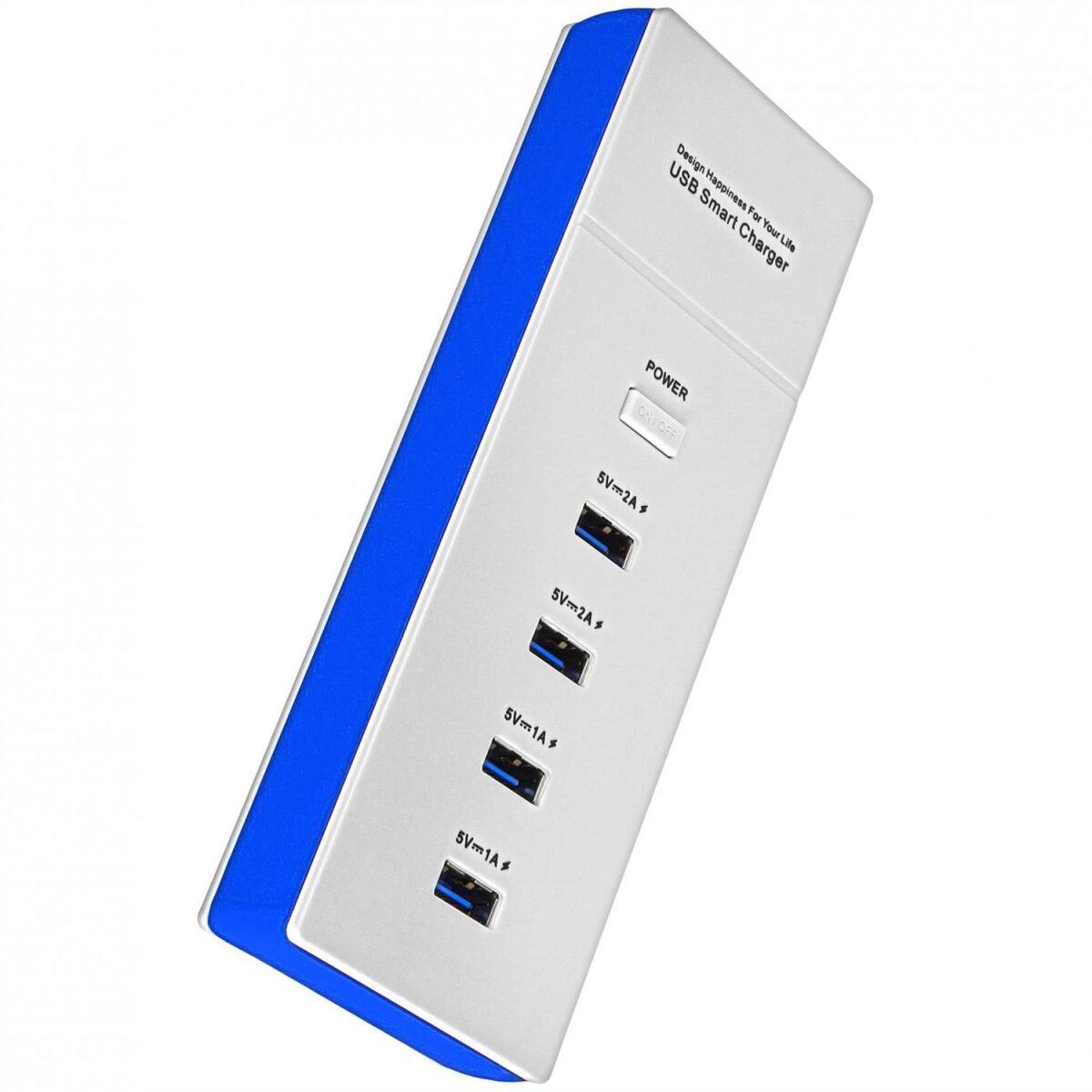 Minadax universelles 5 Volt 4,2 Ampere 4-Port USB Ladegeraet Leiste fuer Smartphone, Tablet PC etc in ruhigem Blau