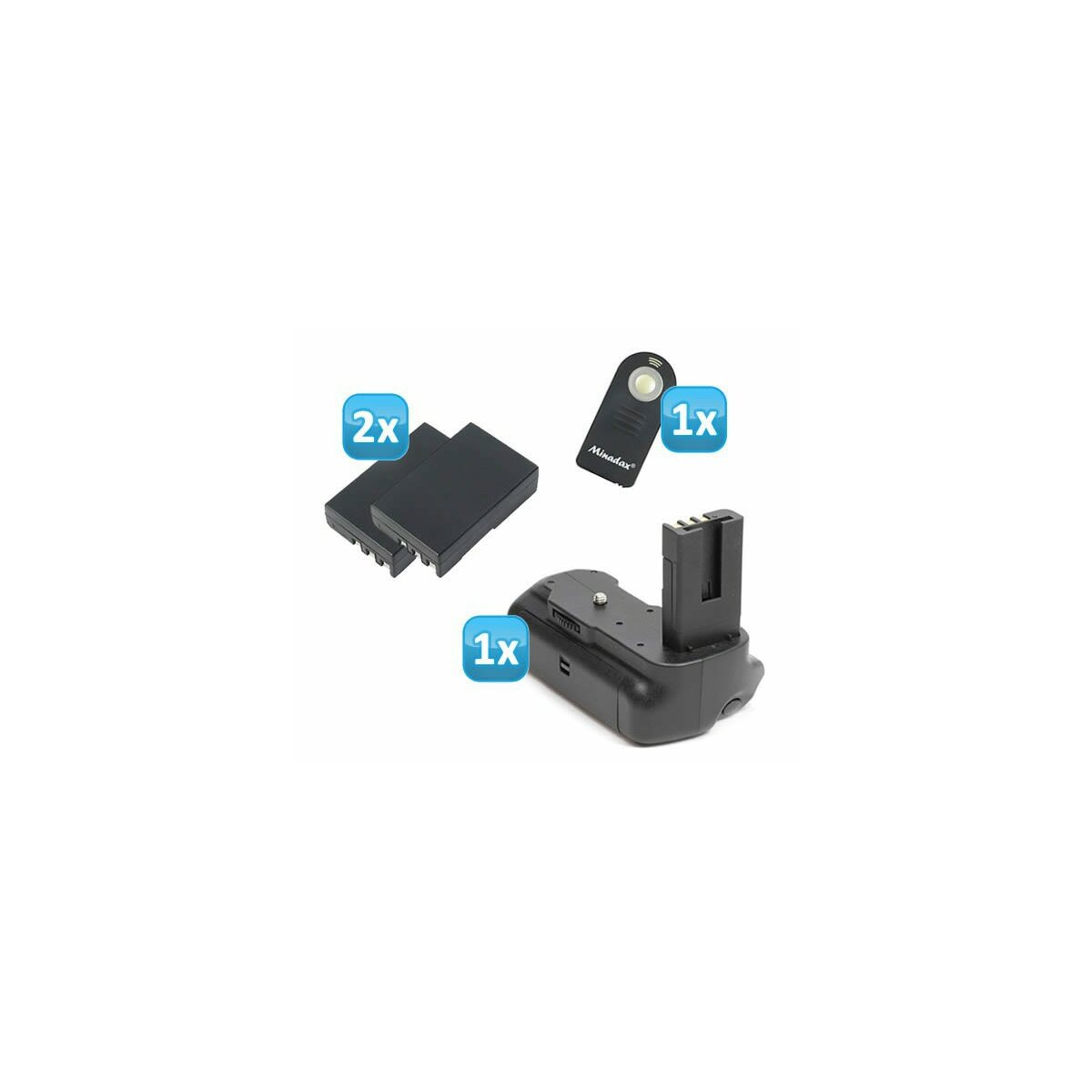 Minadax Profi Batteriegriff kompatibel mit Nikon D5000 - hochwertiger Handgriff mit Hochformatauslöser - doppelte Kapazität durch 2 Akkus + 2x EN-EL9 Nachbau-Akkus + 1x Infrarot Fernbedienung!