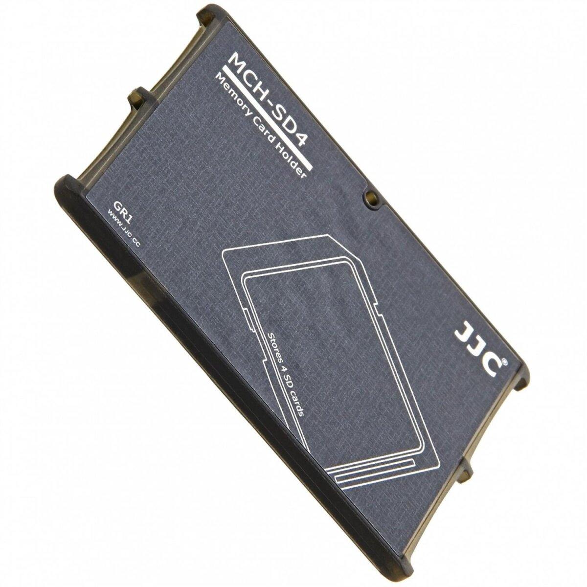 Extrem Kompaktes Speicherkarten Etui Aufbewahrungsbox im Kreditkarten-Format fuer 4x SD SDHC SDXC - grau