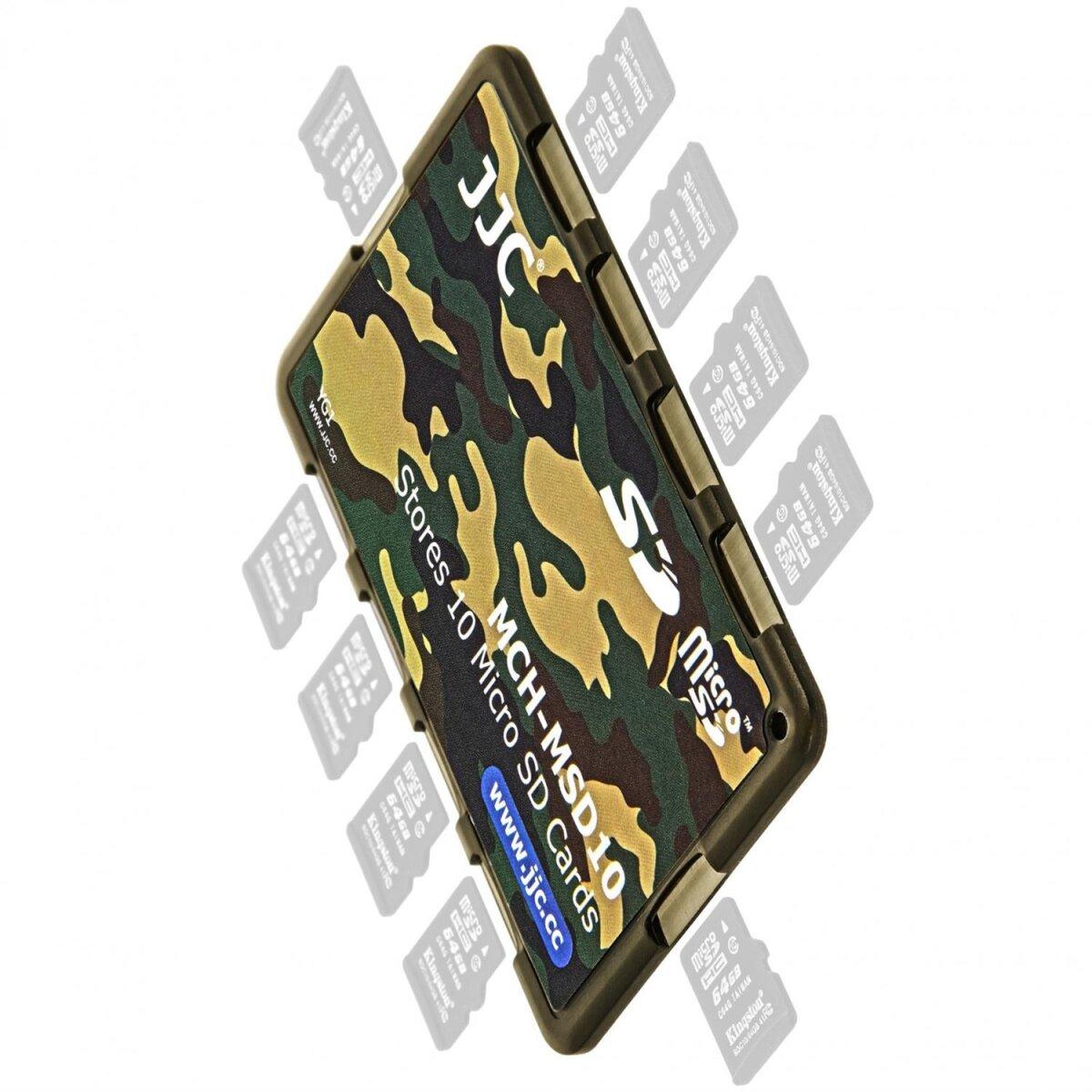 JJC extrem Kompaktes Speicherkartenetui Aufbewahrungsbox im Kreditkarten-Format fuer 10 x MicroSD - Farbe Flecktarn