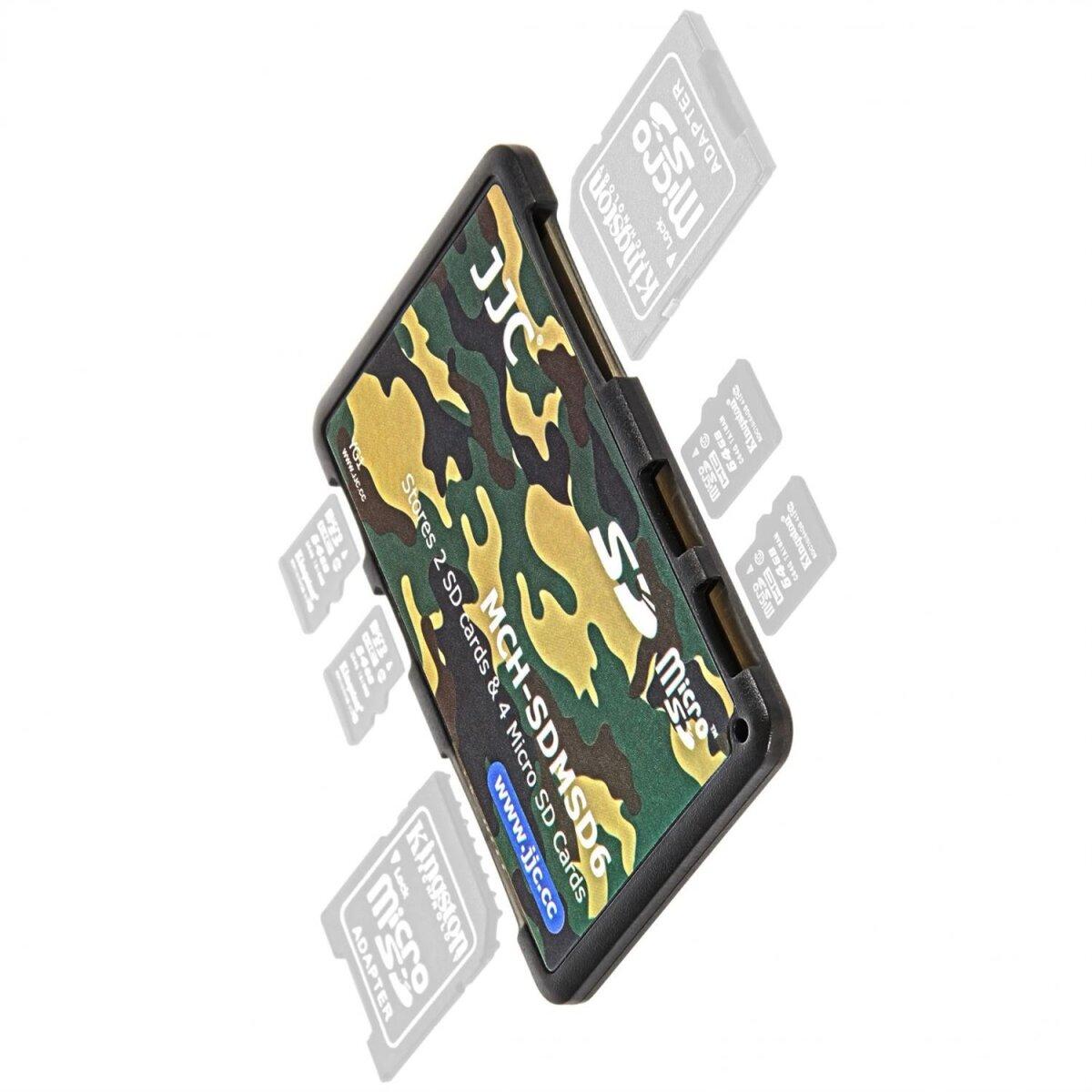 JJC extrem Kompaktes Speicherkartenetui Aufbewahrungsbox im Kreditkarten-Format fuer 2 x SD SDHC SDXC und 4 x MicroSD - Farbe Flecktarn