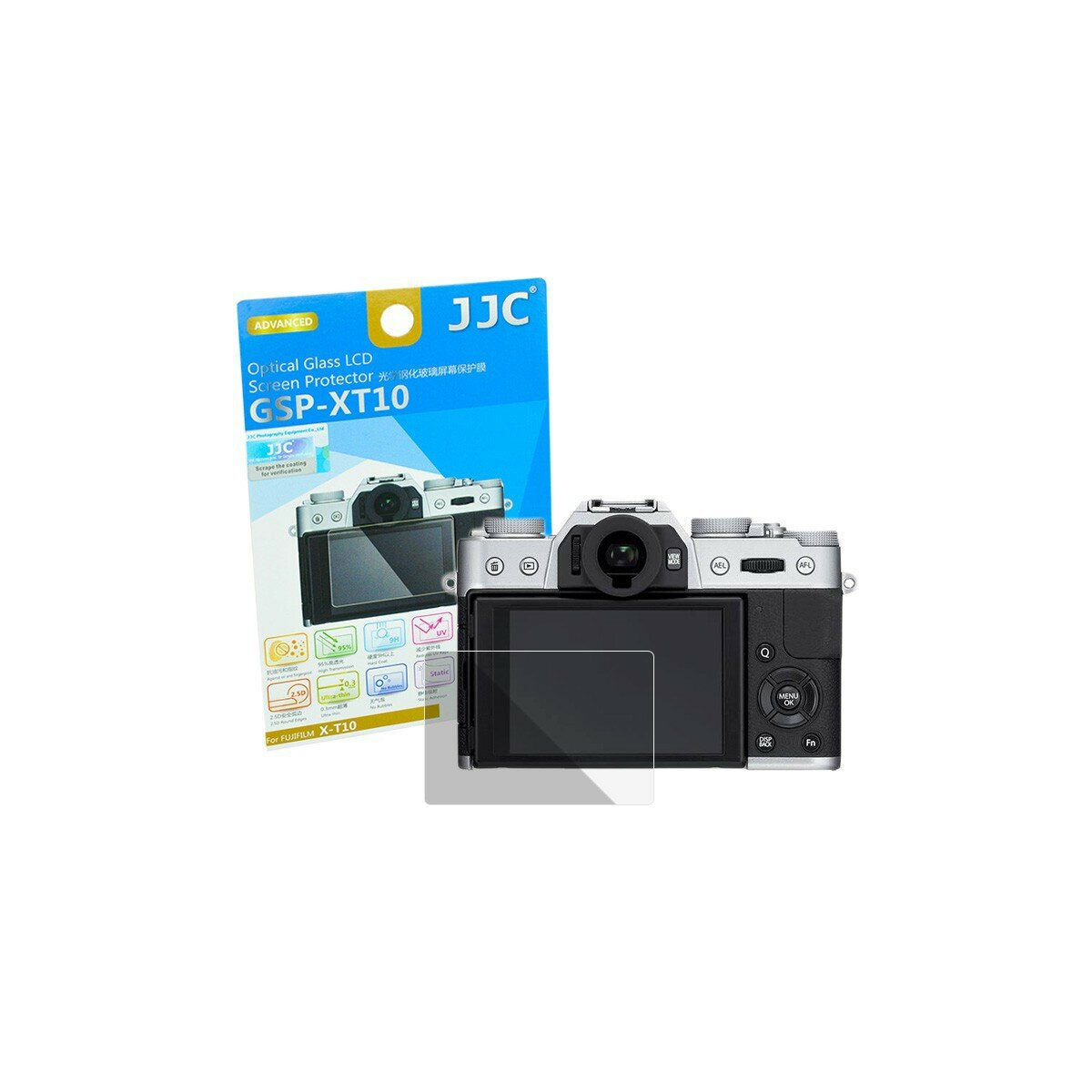 Hochwertiger Displayschutz Screen Protector aus gehaertetem Echtglas, kompatibel mit Fujifilm X-T10, X-T20, X-T100, X-E3 - JJC GSP-XT10