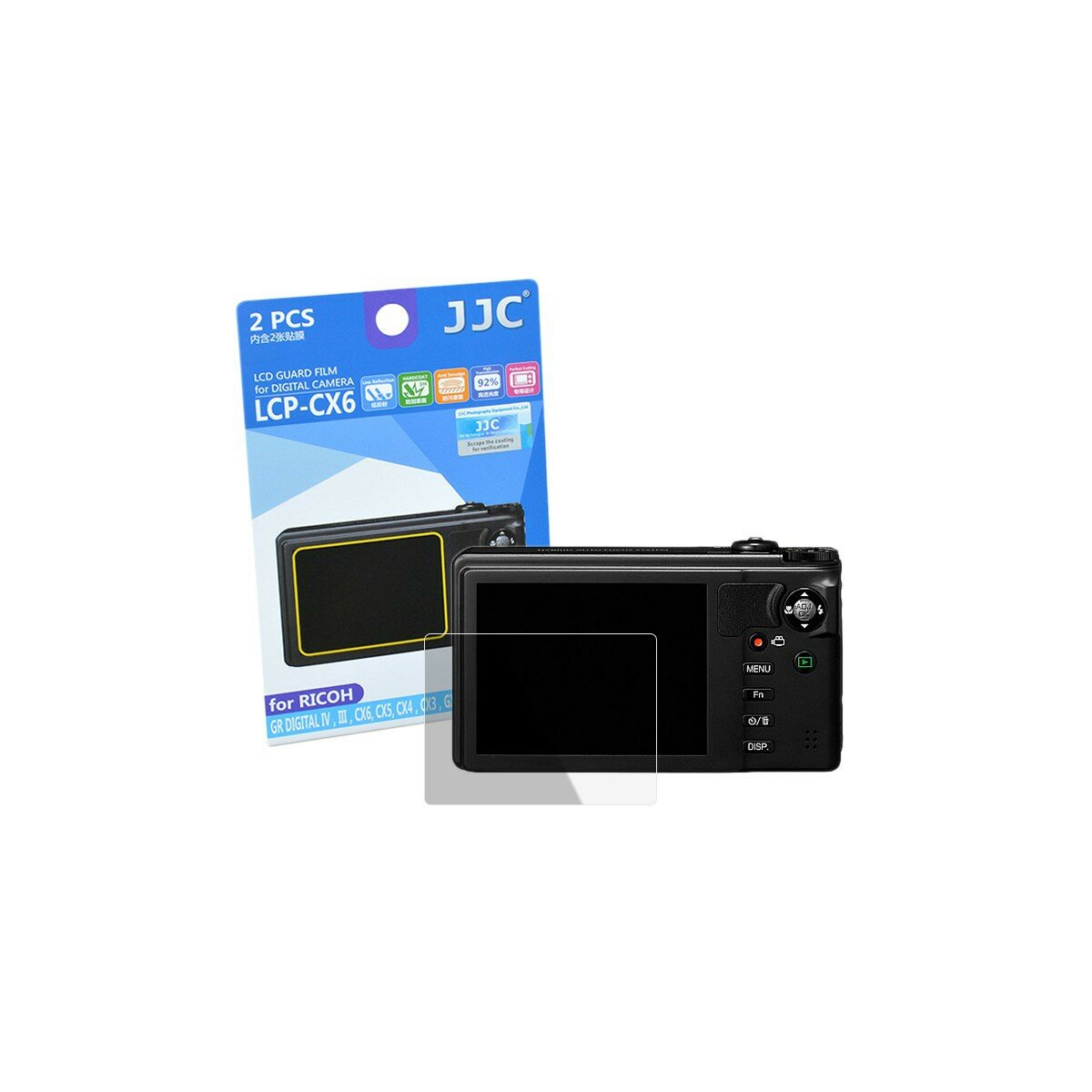 JJC Displayschutzfolie Screen Protector Kratzschutz passgenau fuer Ricoh CX6 - LCP-CX6