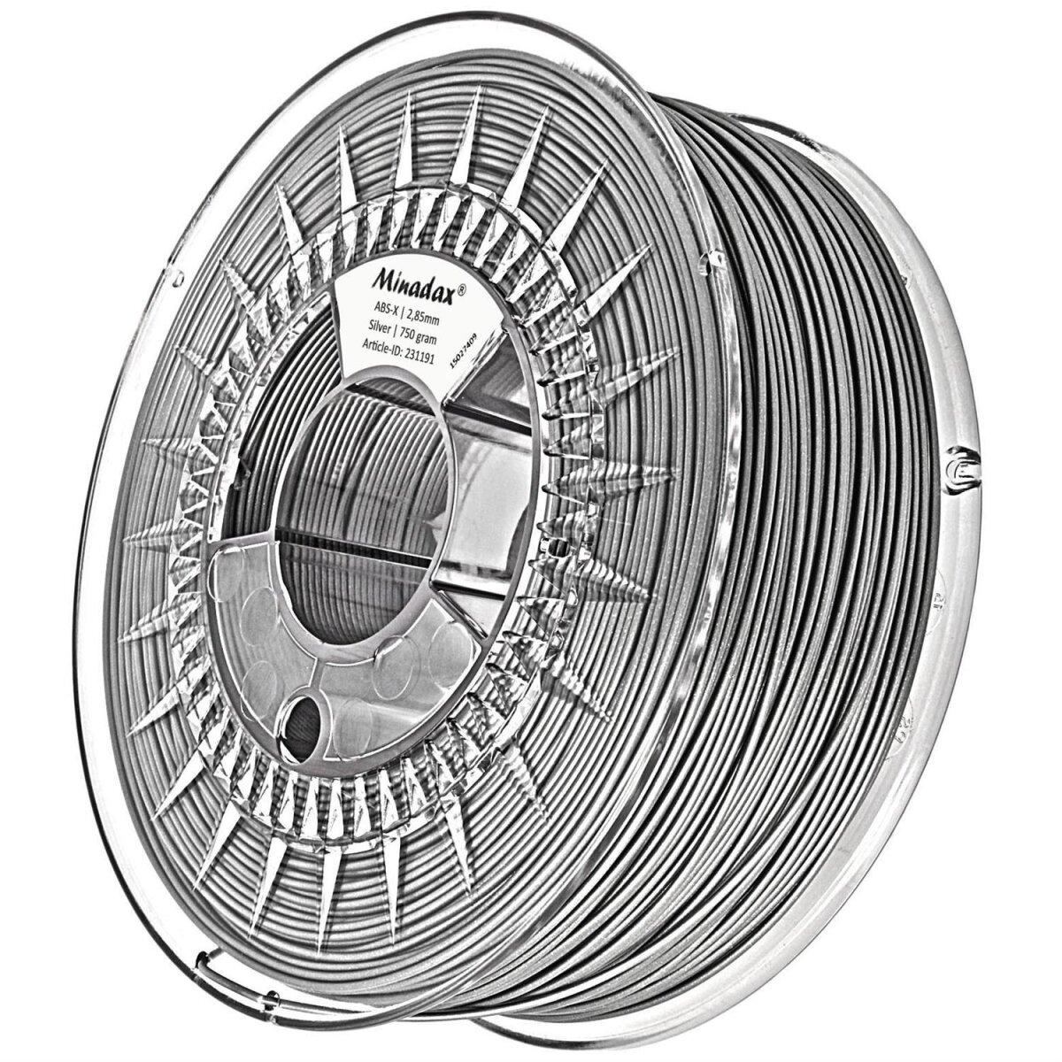 Minadax 0,75kg Premium Qualitaet 3mm (2,85mm) ABS-X-Filament silber fuer 3D-Drucker hergestellt in Europa