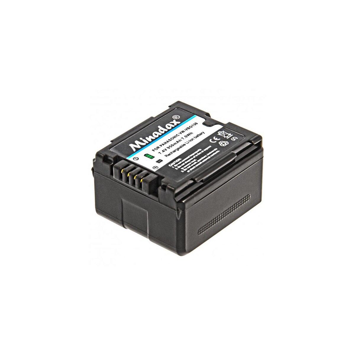 Minadax® Qualitätsakku mit echten 950 mAh kompatibel mit Panasonic HDC HS9 SX5 DX1 TM350 SD100 SD200 SD300 SD600 SD707 HS20 HS100 HS200 HS300 TM700 H20 H40 H50 H80 H90 H250 H280, Ersatz für VW VBG130