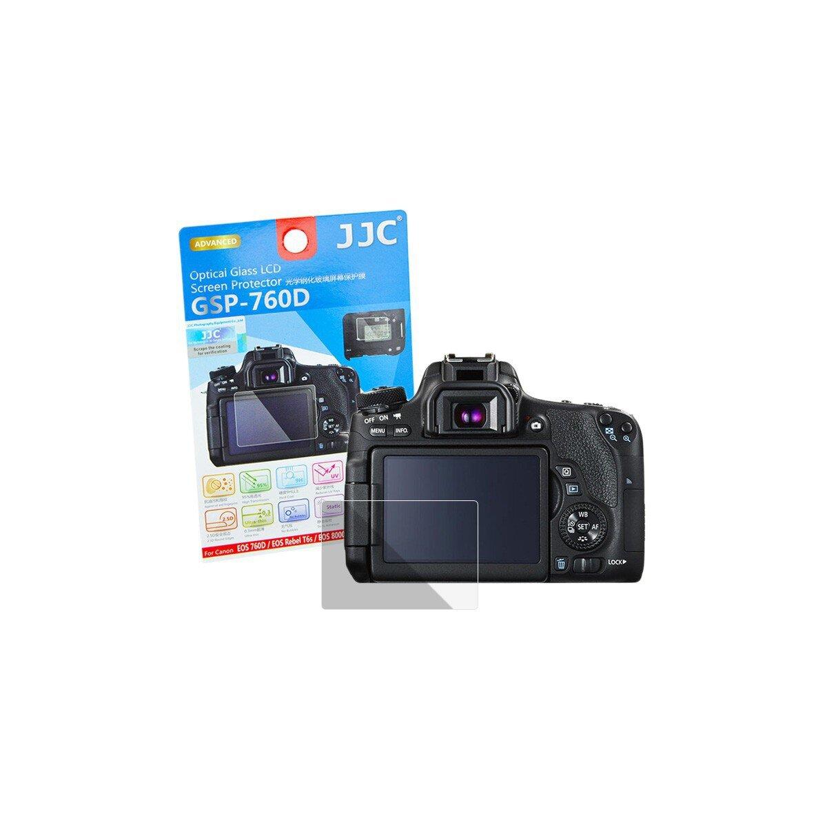 Hochwertiger Displayschutz Screen Protector aus gehaertetem Echtglas, passend fuer Canon EOS 760D & EOS 8000D - JJC GSP-760D