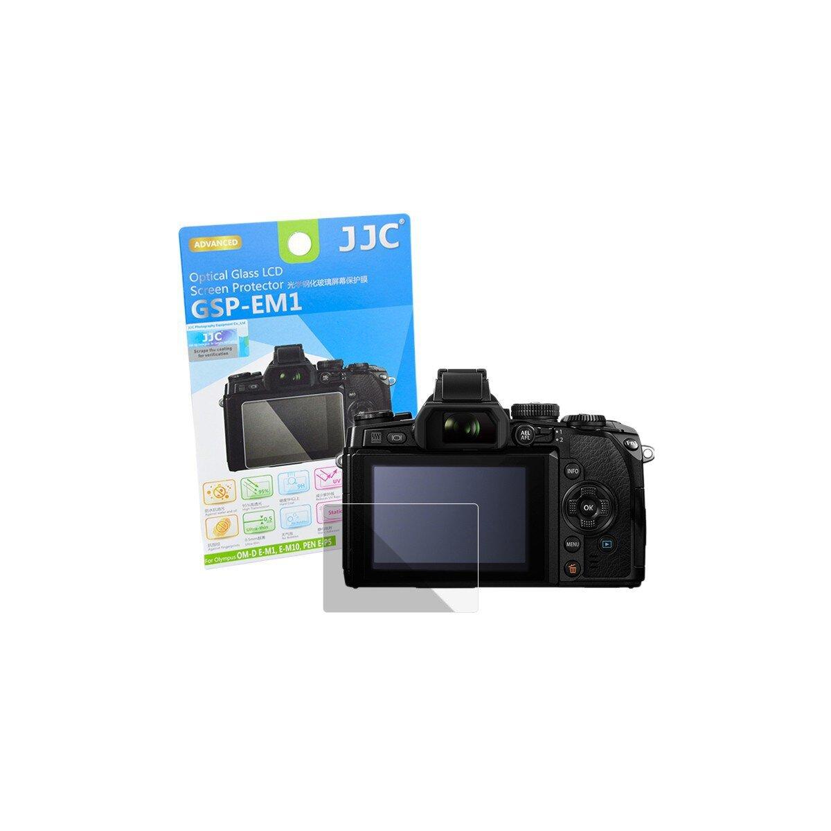 Hochwertiger Displayschutz Screen Protector aus gehaertetem Echtglas, passend fuer Olympus OM-D E-M1, E-M10, E-M5 Mark II, PEN E-P5, E-PL7 - JJC GSP-EM1