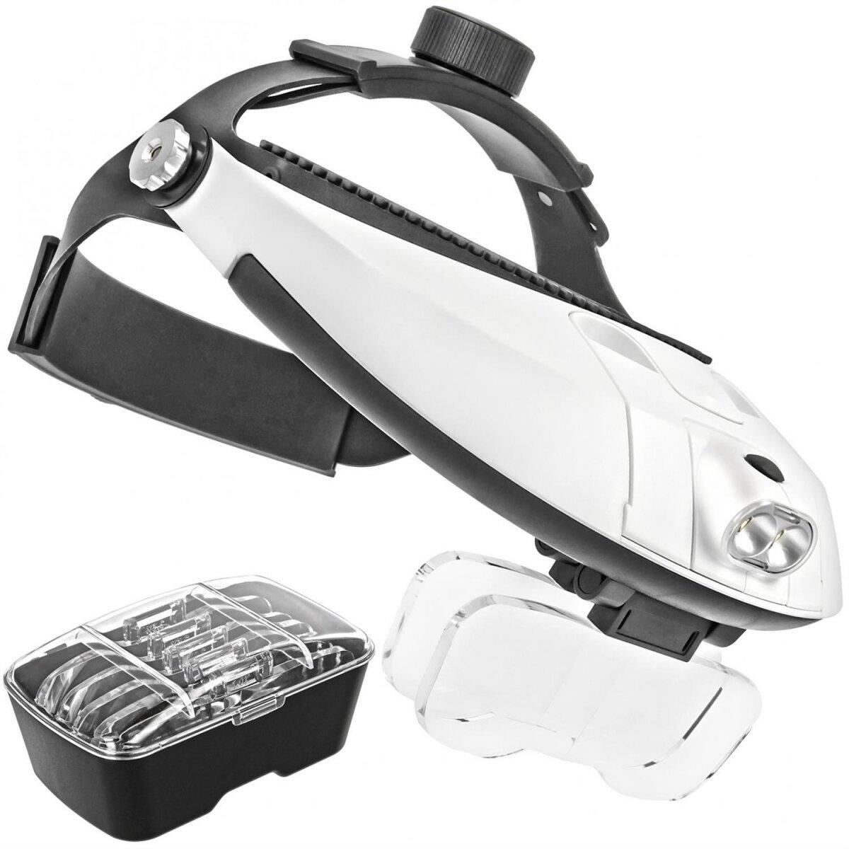 """Profi Stirnlupe Brillenlupe mit verstelbarem """"KOPFBÜGEL"""" Kopflupe mit Doppel LED Beleuchtung und 5x High Definition Vergrößerungsgläser"""