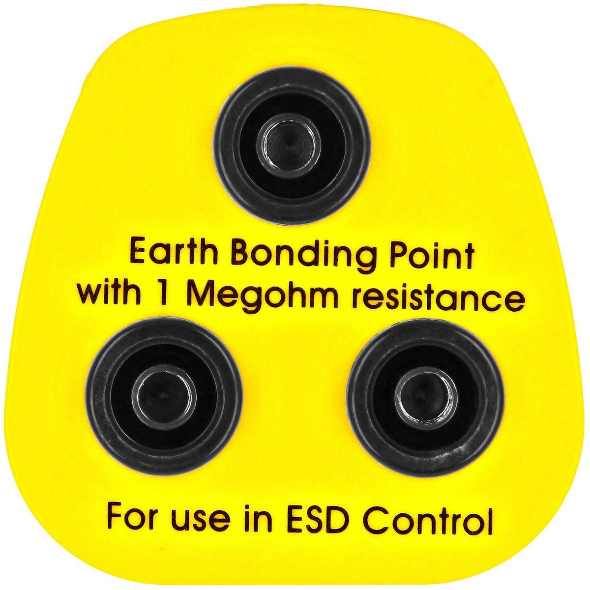Minadax® Erdungsbaustein - EBP - Innovativer ESD-Schutz - Antistatik - Schutzkontaktstecker - 1 x 4 mm Druckknopfbuchse und 2 x 4 mm Bananenstecker-Buchse - 1 Megaohm Sicherheitswiderstand