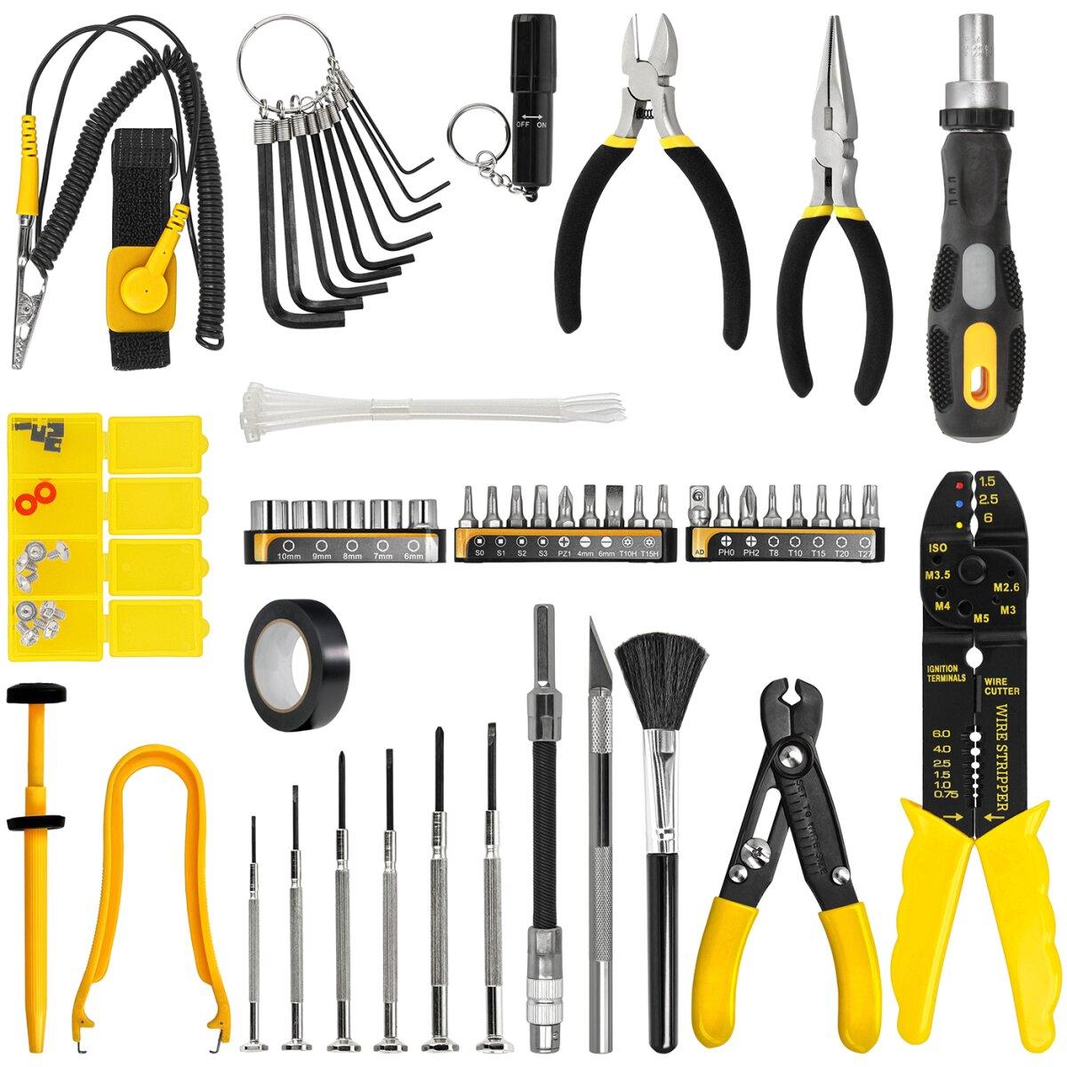 Sprotek Mehrzweck Werkzeugset   58-teiliger Profi Werkzeugkoffer   Werkzeugsatz   Tool Kit   Für professionelle Reparaturarbeiten an elektronischen Geräten etc.   Inkl. Minadax® Microfasertuch