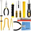 Sprotek Mehrzweck Werkzeugset | 33-teiliger Basis Werkzeugkoffer | Werkzeugsatz | PC-Reparatur Tool Kit | Für professionelle Reparaturarbeiten an PCs und anderen Geräten | Inkl. Minadax® Microfasertuch