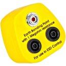 Minadax® Erdungsbaustein EBP Innovativer ESD-Schutz - Antistatik-Schutzkontaktstecker - 1 x Druckknopfbuchse und 2 x Bananenstecker-Buchse - 1 Megaohm Sicherheitswiderstand