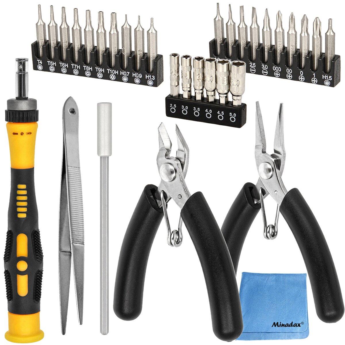Sprotek Elektronik-Werkzeugsatz | 32 teiliges Werkzeugset | Tool Kit für Reparaturarbeiten an Elektronik-Geräten| Für Hobby-Bastler und Profis | Inklusive Aufbewahrungsbox + Minadax® Microfasertuch