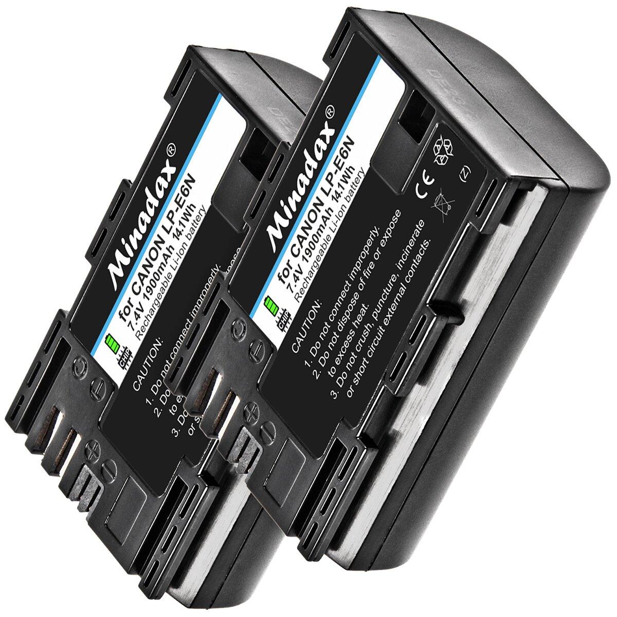 2x Minadax® Qualitätsakkus mit echten 1900 mAh für Canon EOS 6D Mark II 80D 7D Mark II, ersetzt LP-E6N - Intelligentes Akkusystem mit Chip