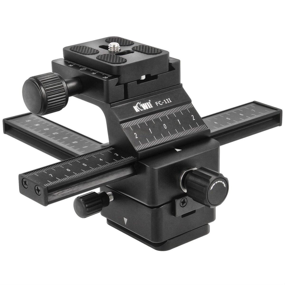 KiwiFoto FC-1II Professioneller 16cm 3D Einstellschlitten 4-Wege Makroschiene Kreuzschlitten für Panorama- und Makrofotografie