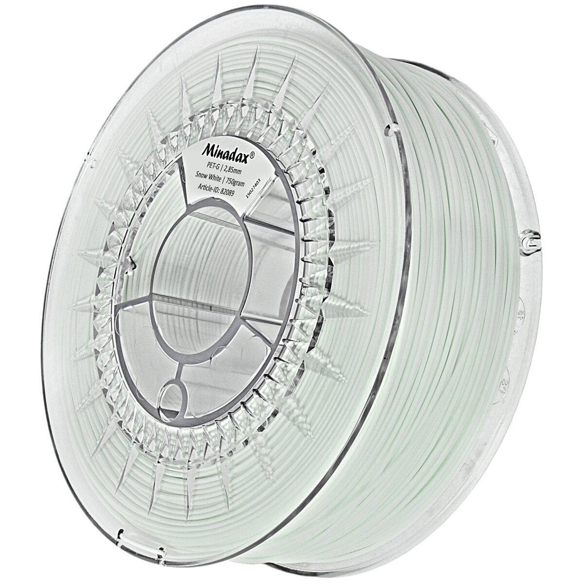 [X]Minadax® 0,75kg Premium Qualität 3mm (2,85mm) PET-G Filament schneeweiß für 3D-Drucker hergestellt in Europa