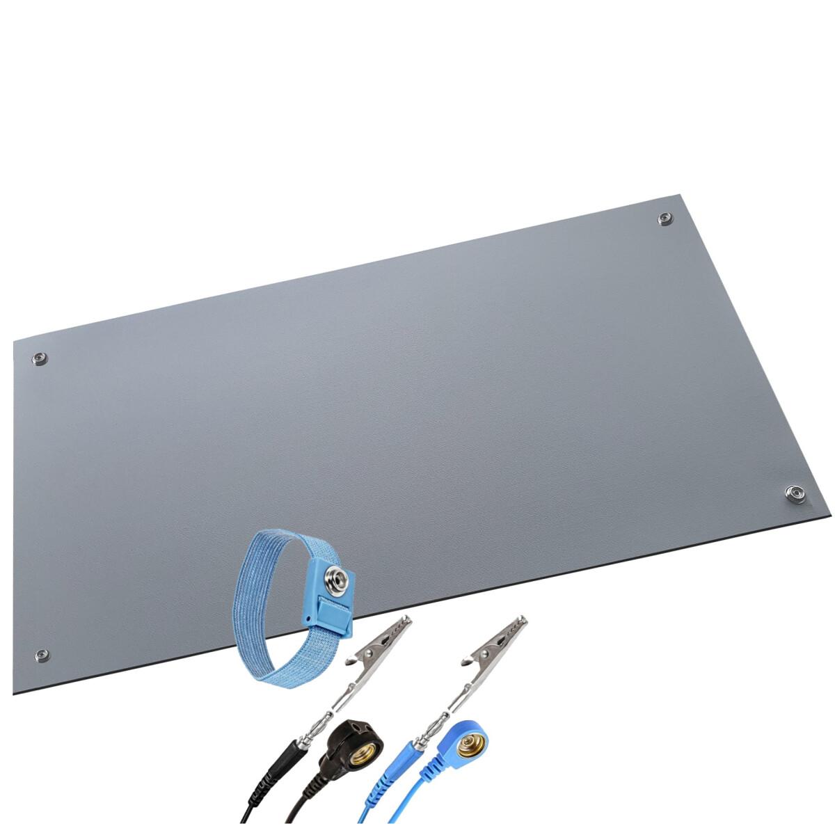 Minadax® ESD Antistatik-Matte 50 cm x 60 cm - inkl. Manschette + Verlängerung - Professionelle Antistatische Arbeitsmatte - PVC-Matte mit Erdungskabel - Qualität - ESD-Schutz