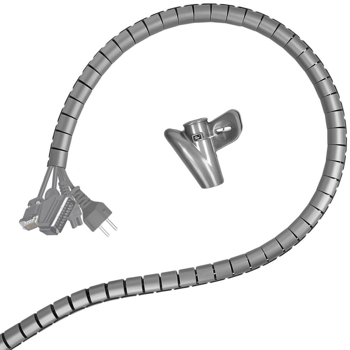 Minadax professioneller HighTech 2 Meter Kabelschlauch Kabelkanal in grau mit 28 mm Durchmesser für flexibles Kabelmanagment an Computer und Arbeitsplatz