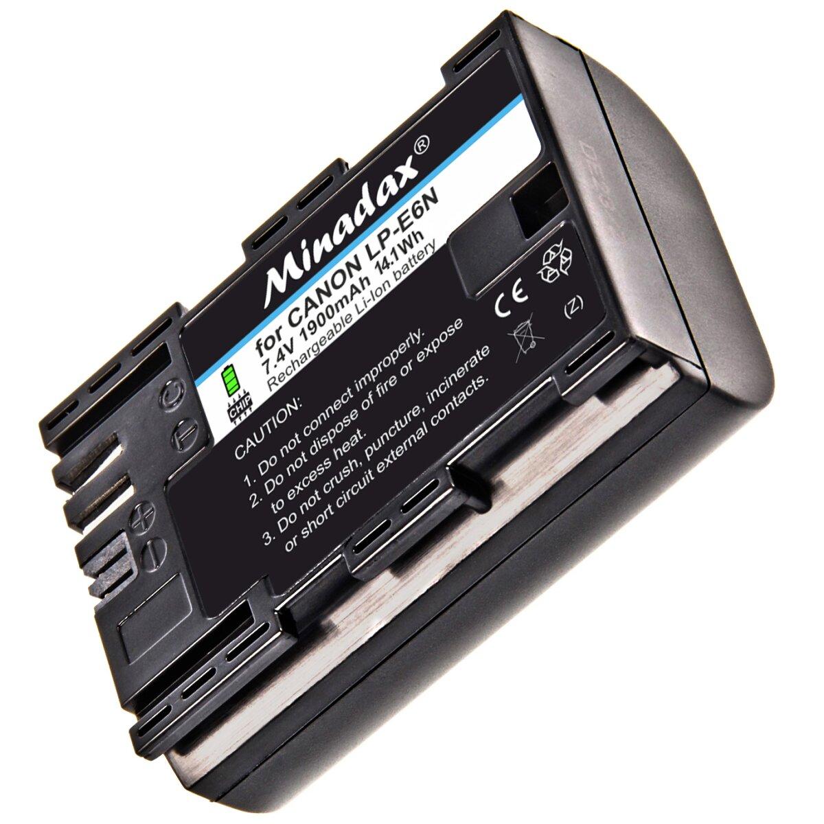 Minadax Qualitätsakku LP-E6 LP-E6N mit echten 1900 mAh kompatibel mitCanonEOS 90D 5DS 5DSR 5D Mark II/III/IV 60D/Da 70D 80D 6D 7D 7D MarkII 6D MarkII, EOS R, XC10