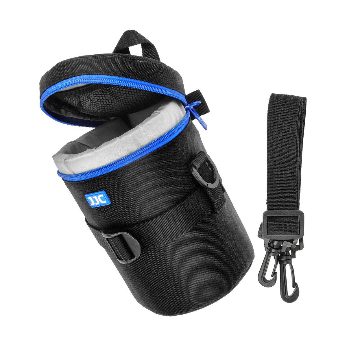 Objektivtasche Objektivköcher Objektivbeutel für Kamera Objektive mit Schultergurt + Handgriff + Klettverschluss für den Gürtel – Innenmaß 100 x 170 mm – JJC Deluxe Lens Pouch DLP-4II