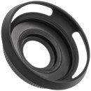 JJC Automatik-Objektivdeckel mit Alu-Gegenlichtblende kompatibel mit Olympus M.Zuiko Digital ED 14-42mm f/3.5-5.6 EZ und Panasonic Lumix G Vario 12-32mm f/3.5-5.6 ASPH. (schwarz)