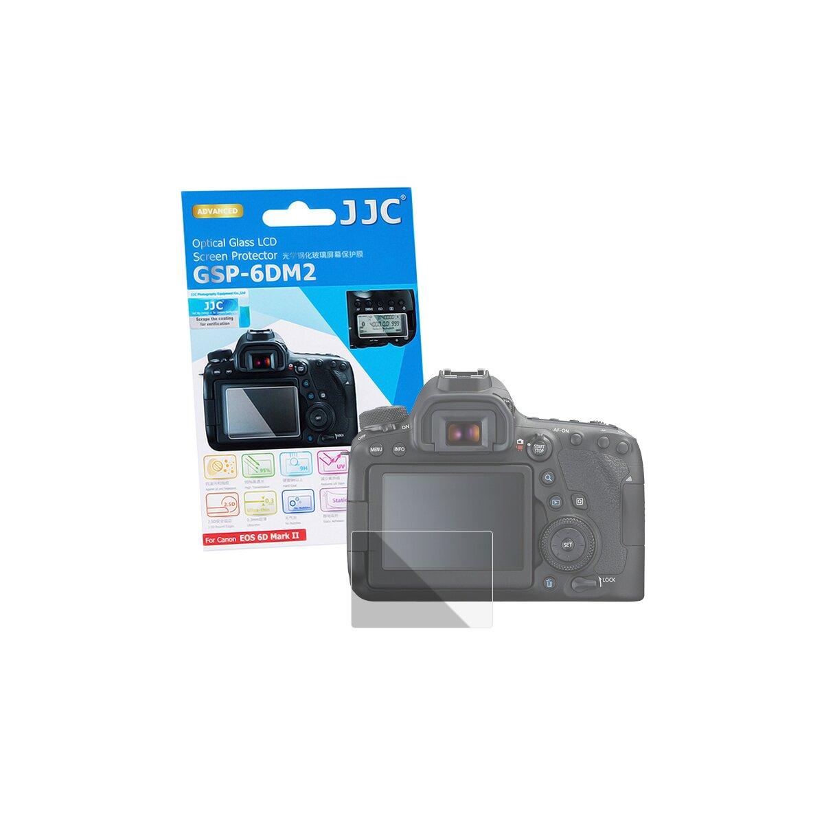 JJC Hochwertiger Displayschutz Screen Protector aus gehärtetem Echtglas, kompatibel mit Canon EOS 6D Mark 2