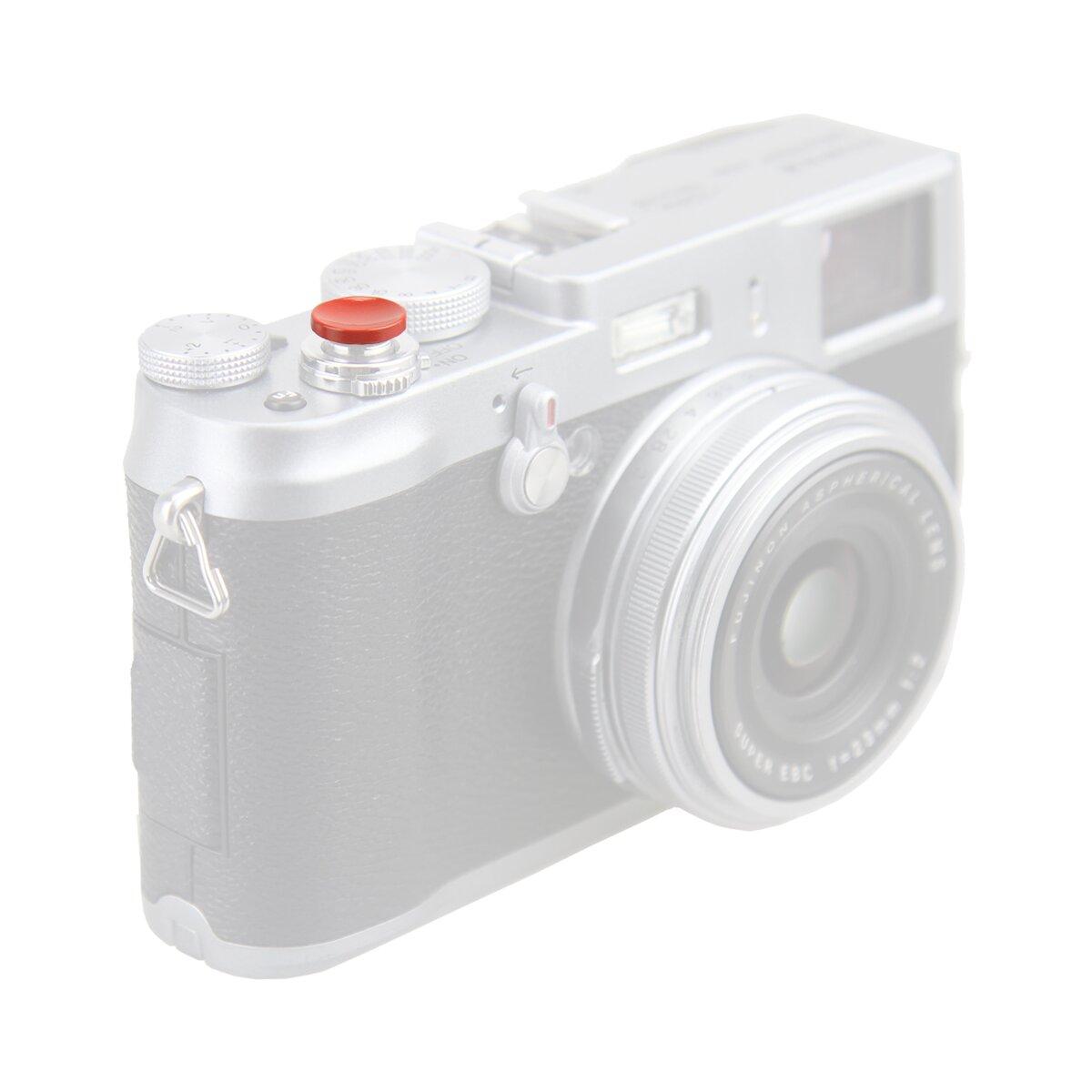 JJC Ergonomischer Auslöseknopf zum Einschrauben konkav Dunkelrot - passend als Zubehör für alle Kameras mit Gewinde im Auslöseknopf wie z.B Fujifilm, Leica, Canon, Nikon, Sony, Olympus u.v.m