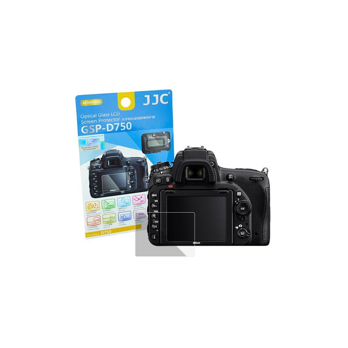 Hochwertiger Displayschutz Screen Protector aus gehaertetem Echtglas, passend fuer Nikon D750 - JJC GSP-D750