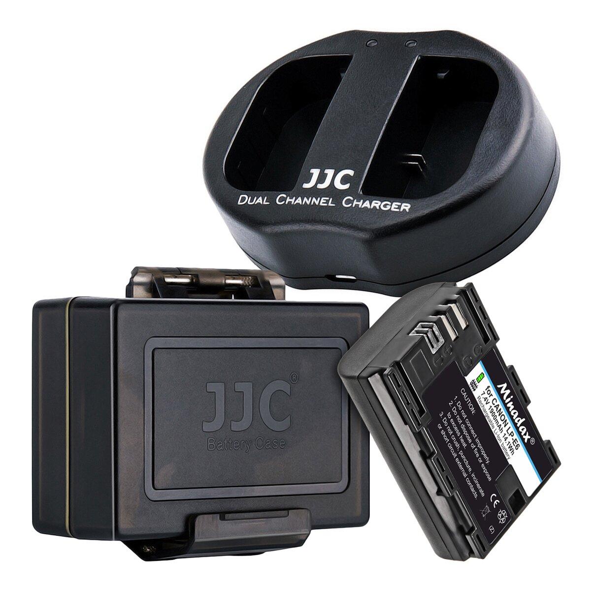 JJC Ladegerät inkl. 1x LP-E6 1900mAh Nachbauakku und 1x Akku Schutzbox | Ladegerät mit 2 Ladesteckplätzen und USB-Anschlusskabel überall verwendbar