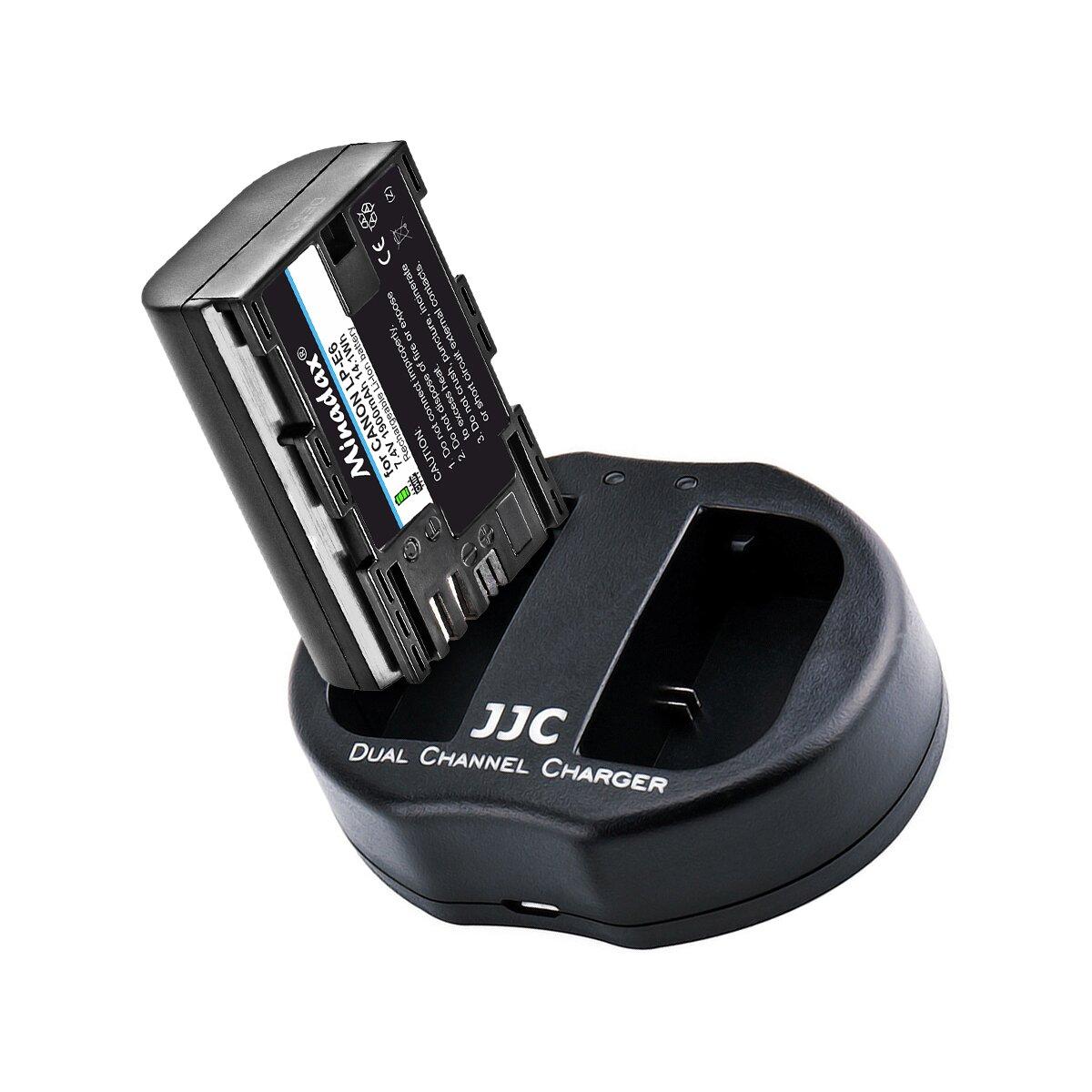 JJC Ladegerät inkl. 1x LP-E6 1900mAh Nachbauakku, 2 Ladesteckplätzen und USB-Anschlusskabel - egal ob unterwegs, zuhause, im Auto oder im Büro - überall verwendbar