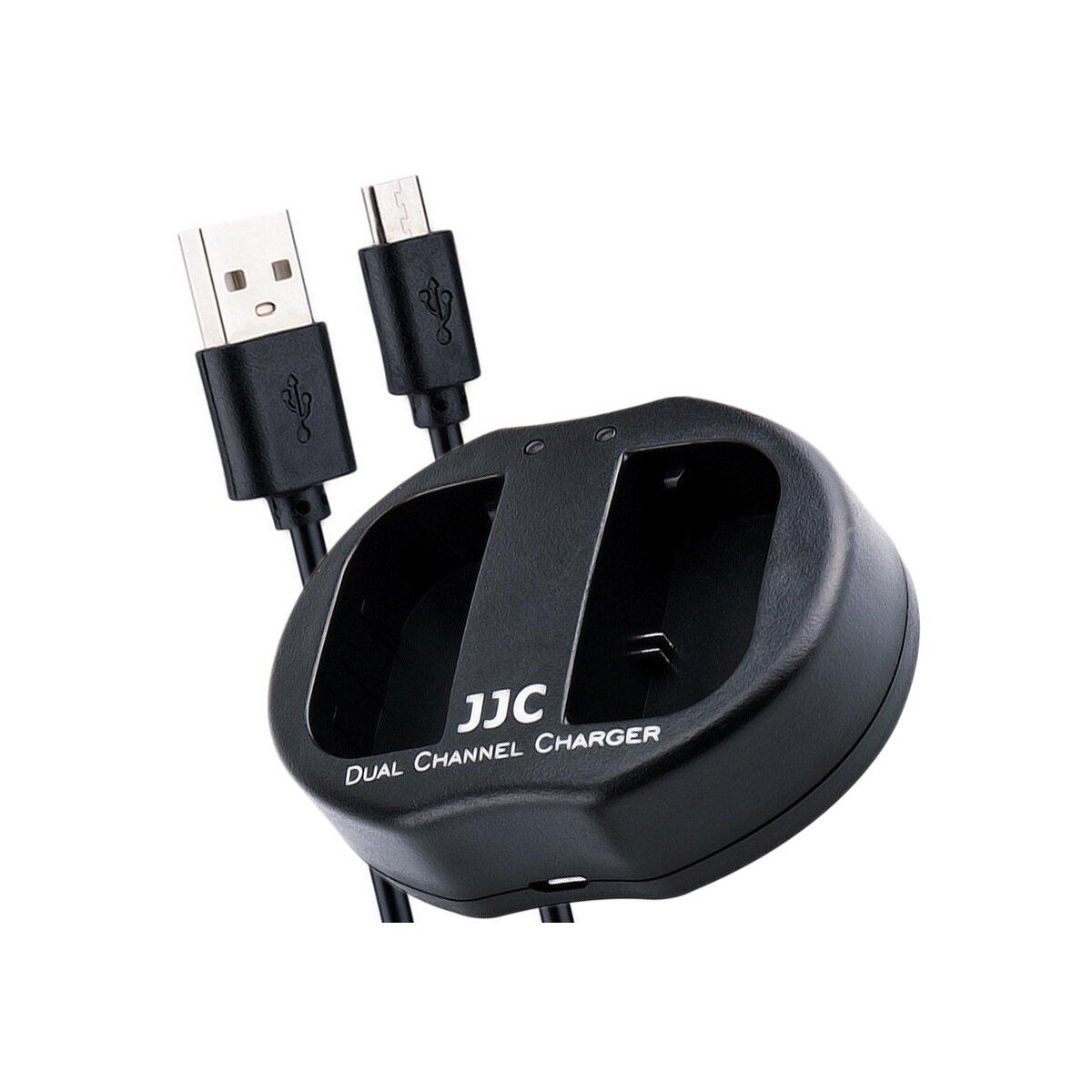 JJC Ladegerät für LP-E6 Akkus mit 2 Steckplätzen und USB-Anschlusskabel für unterwegs und für zu Hause