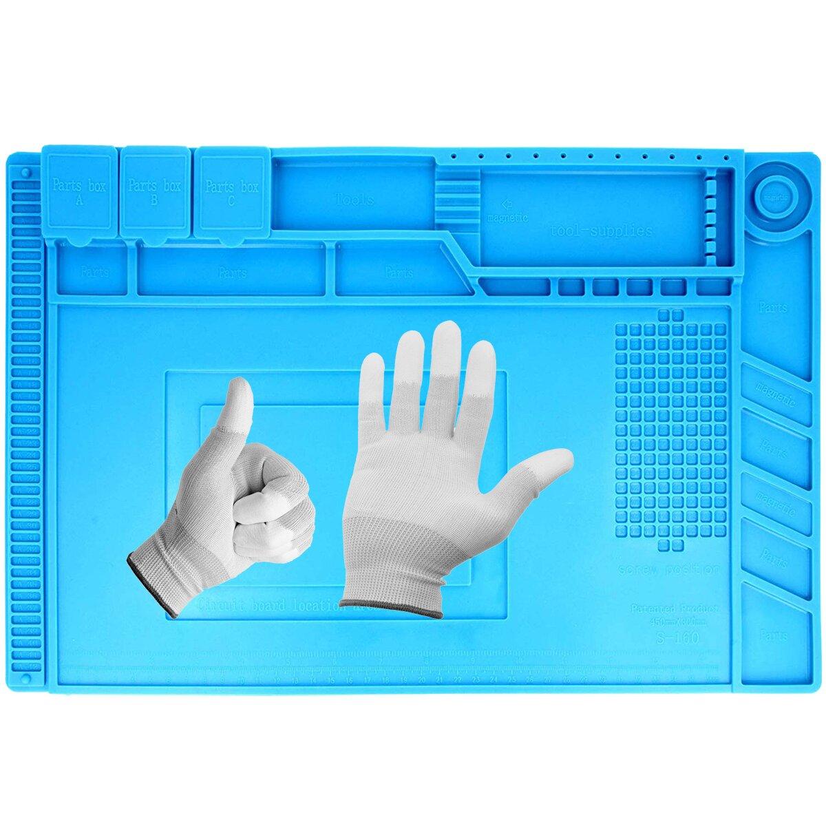 Minadax hitzebeständige (bis zu 500°C) Lötmatte mit Magnetfeldern + Antistatik Handschuhe Gr.L - 30 x 45 cm – ideal geeignet für Reparaturen