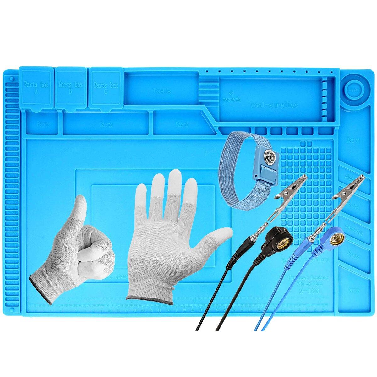 Minadax hitzebeständige (bis zu 500°C) Lötmatte mit Magnetfeldern + Antistatik Handschuhe Gr.-L+ Handgelenkschlaufe mit Verlängerung - 30 x 45 cm – ideal geeignet für Reparaturen
