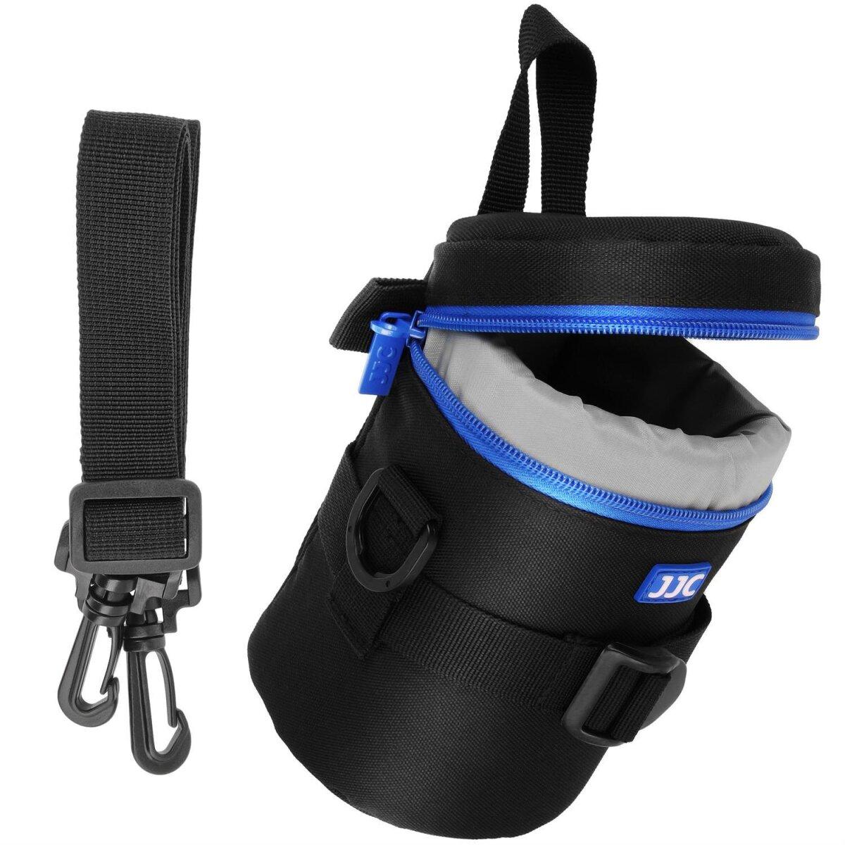 Objektivtasche Objektivköcher Objektivbeutel für Kamera Objektive mit Schultergurt + Handgriff + Klettverschluss für den Gürtel – Innenmaß 80 x 152 mm – JJC Deluxe Lens Pouch DLP-2II