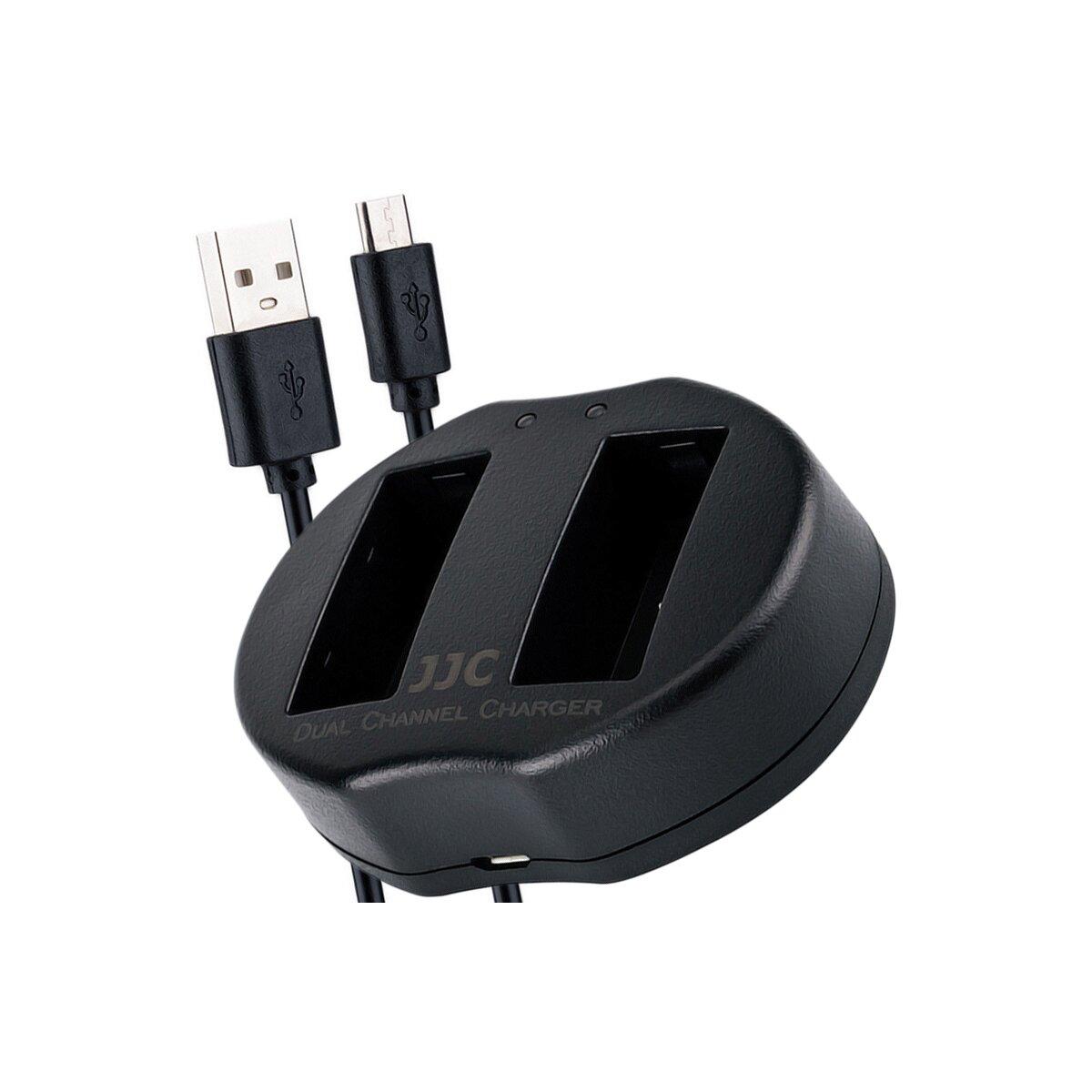JJC Ladegerät für NP-W126 Akkus mit 2 Steckplätzen und USB-Anschlusskabel für unterwegs und für zu Hause