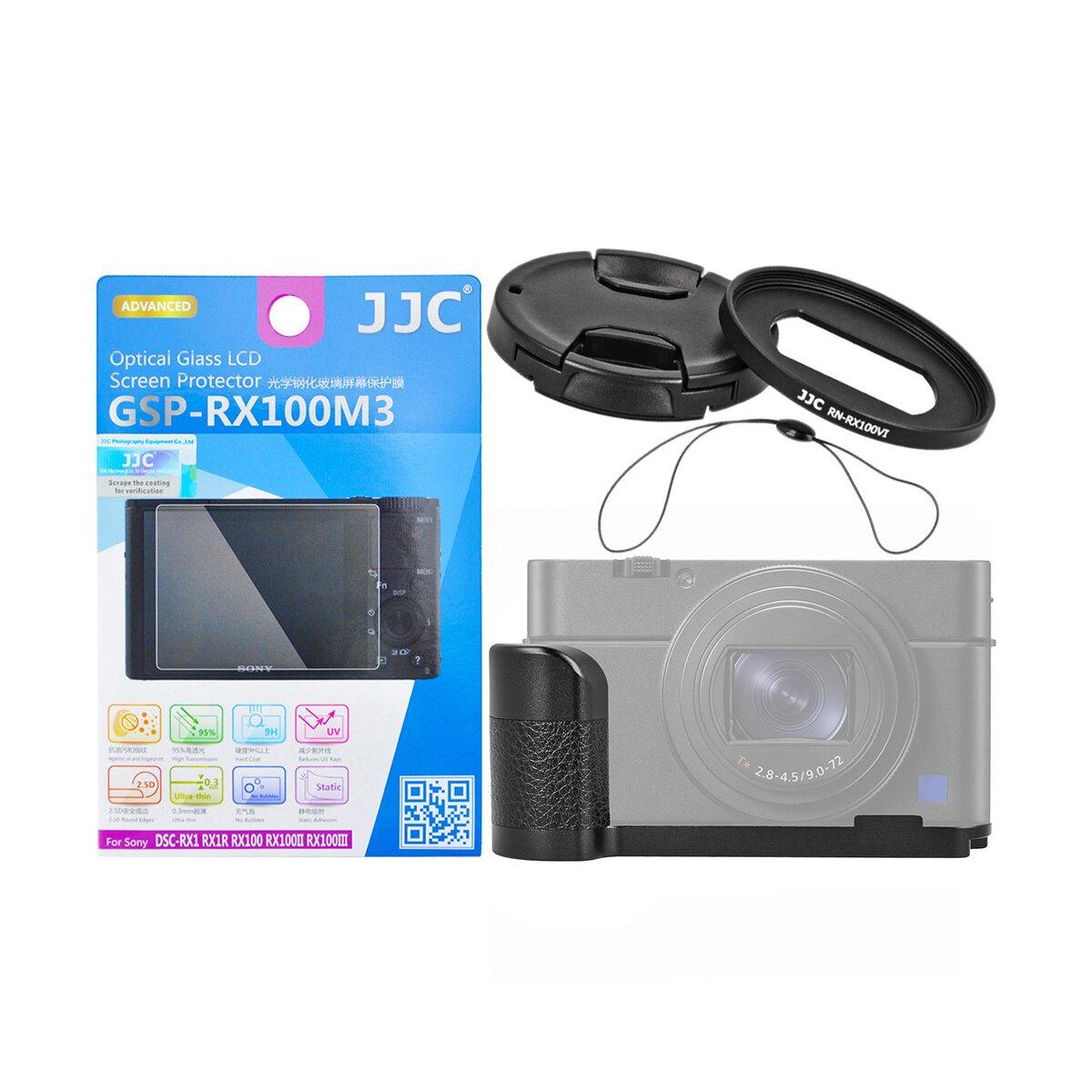 JJC Zubehör Set Kit Kompatibel mit Sony RX100 M2 M3 M4 M5 M6  mit L-Platte, Adapterfilter 52mm mit Objektivdeckel(Smart Snap) und Sicherheitskordel plus passender LCD-Displayschutzglas