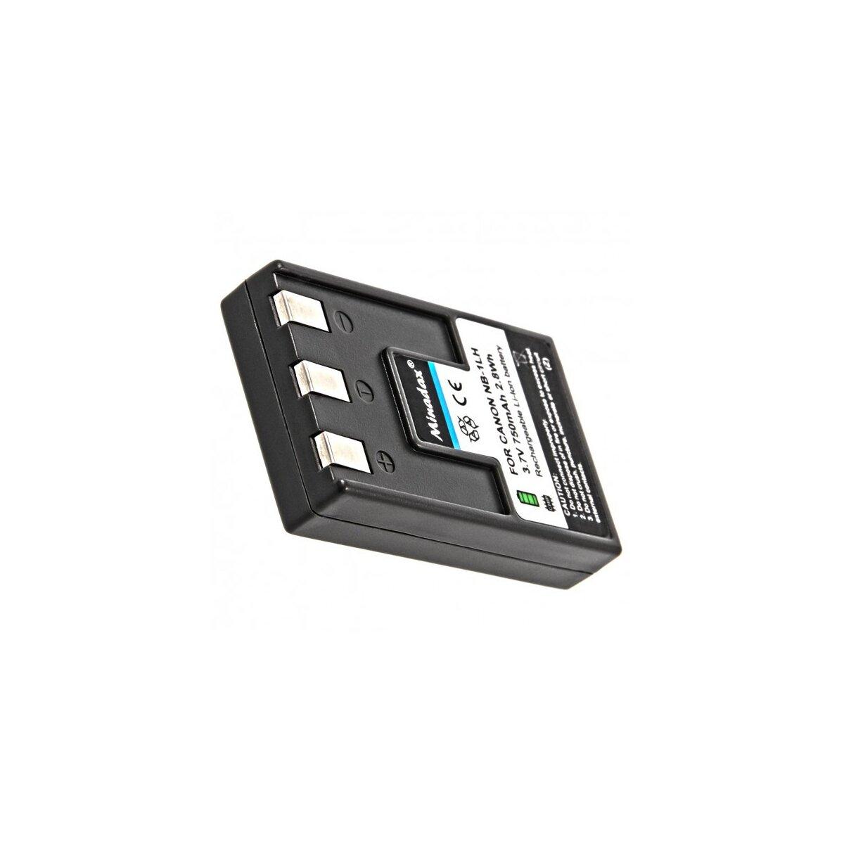 Minadax® Li-Ion Akku mit echten 750mAh für Canon | Qualitätsakku ersetzt den Canon NB-1LH | Intelligentes Akkusystem mit Chip