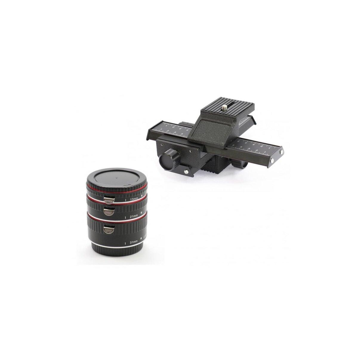 MAKROSET Minadax Automatik Zwischenringe 3-teilig + Vier-Wege Makroschlitten fuer Canon EF / EF-S EOS 1200D, 1100D, 1000D, 700D, 650D, 600D, 550D, 500D, 450D, 400D, 350D, 300D, 100D, 70D, 60D, 50D, 40D, 30D, 20D, 10D, 7D, 6D, 5D & 1D Serien