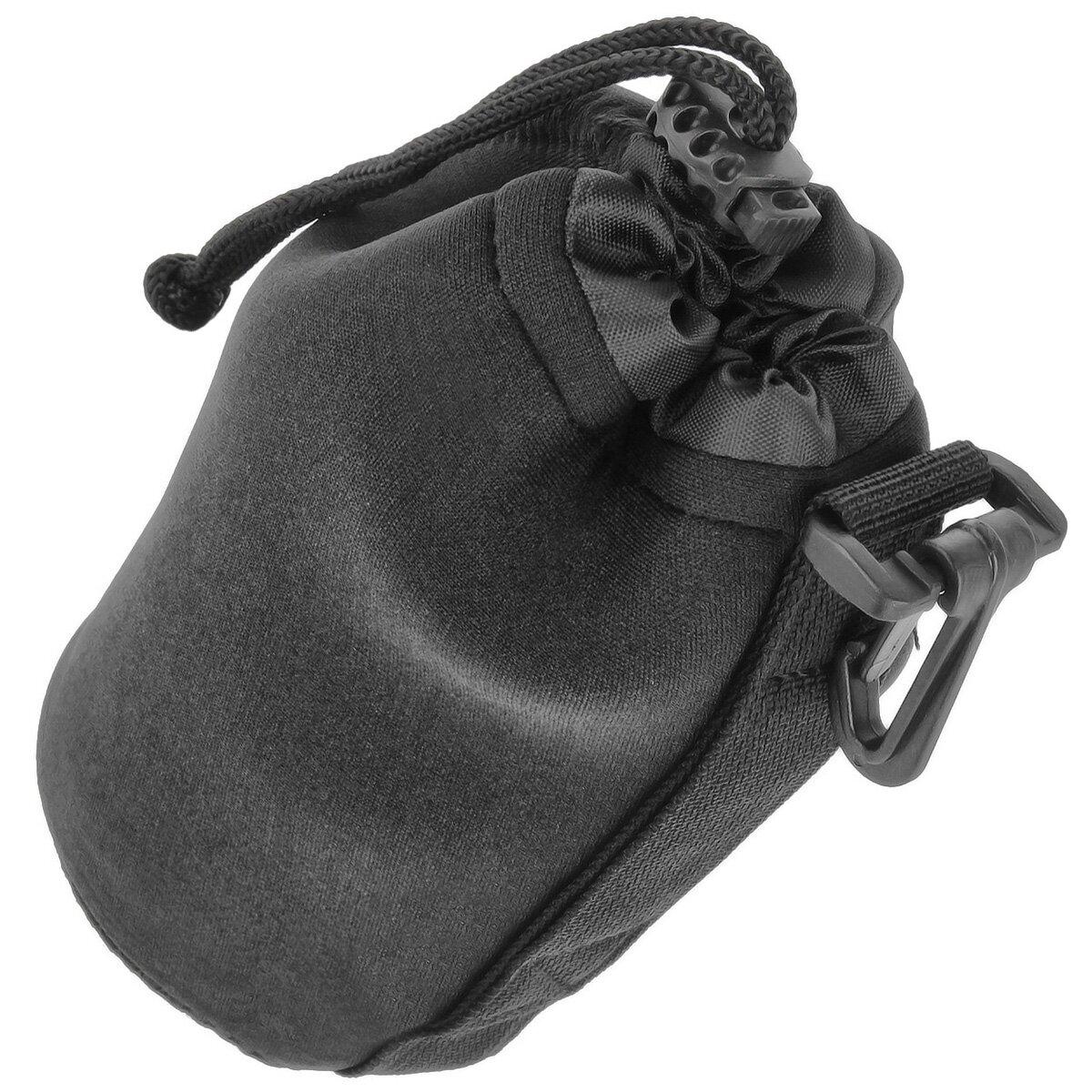 Minadax Neopren Objektivtasche mit Gurtclip, L (Large) ø 90mm x H 170mm - in schwarz