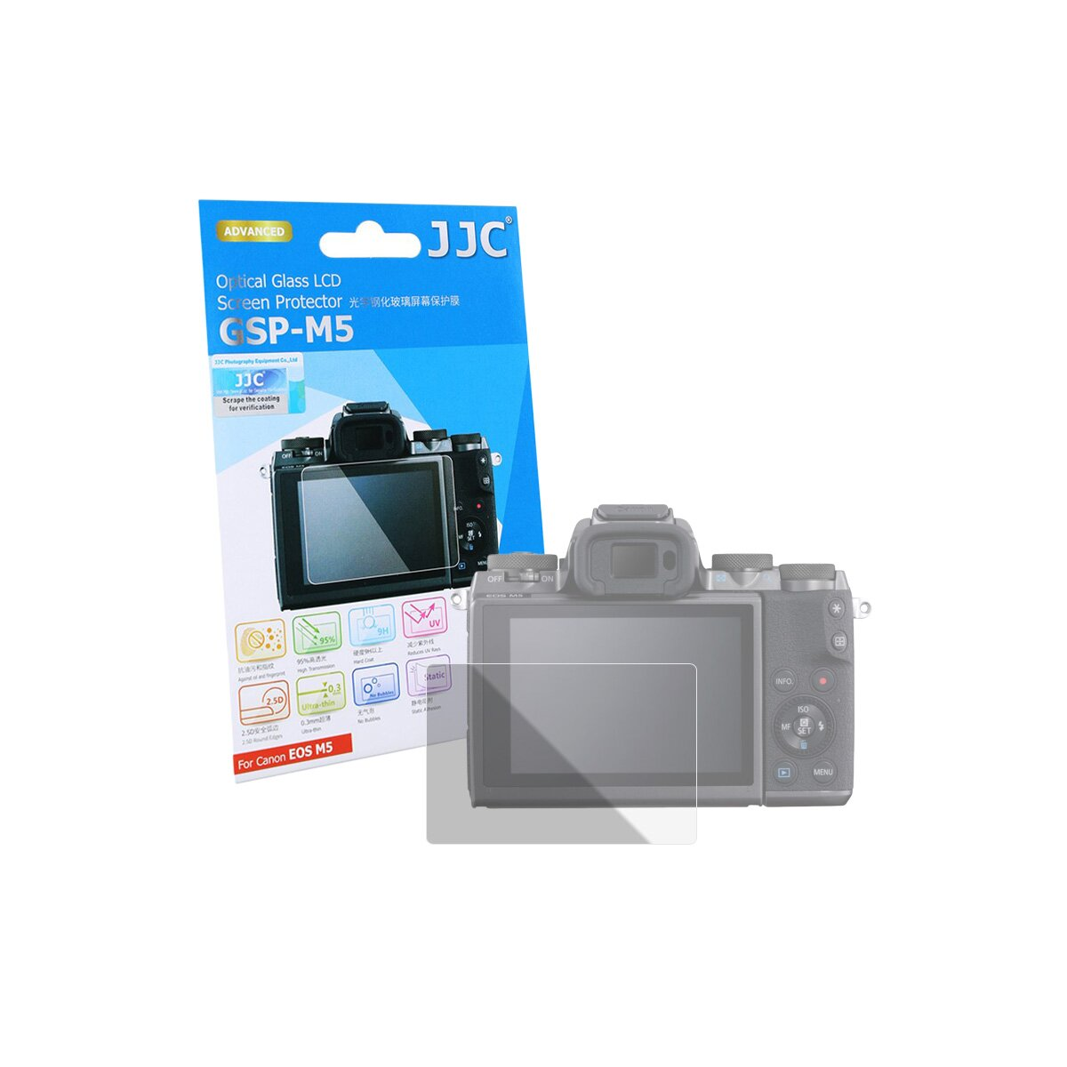 JJC GSP-M5 Hochwertiger Displayschtz Screen Protector aus gehärtetem Echtglas kompatibel mit Canon EOS M5