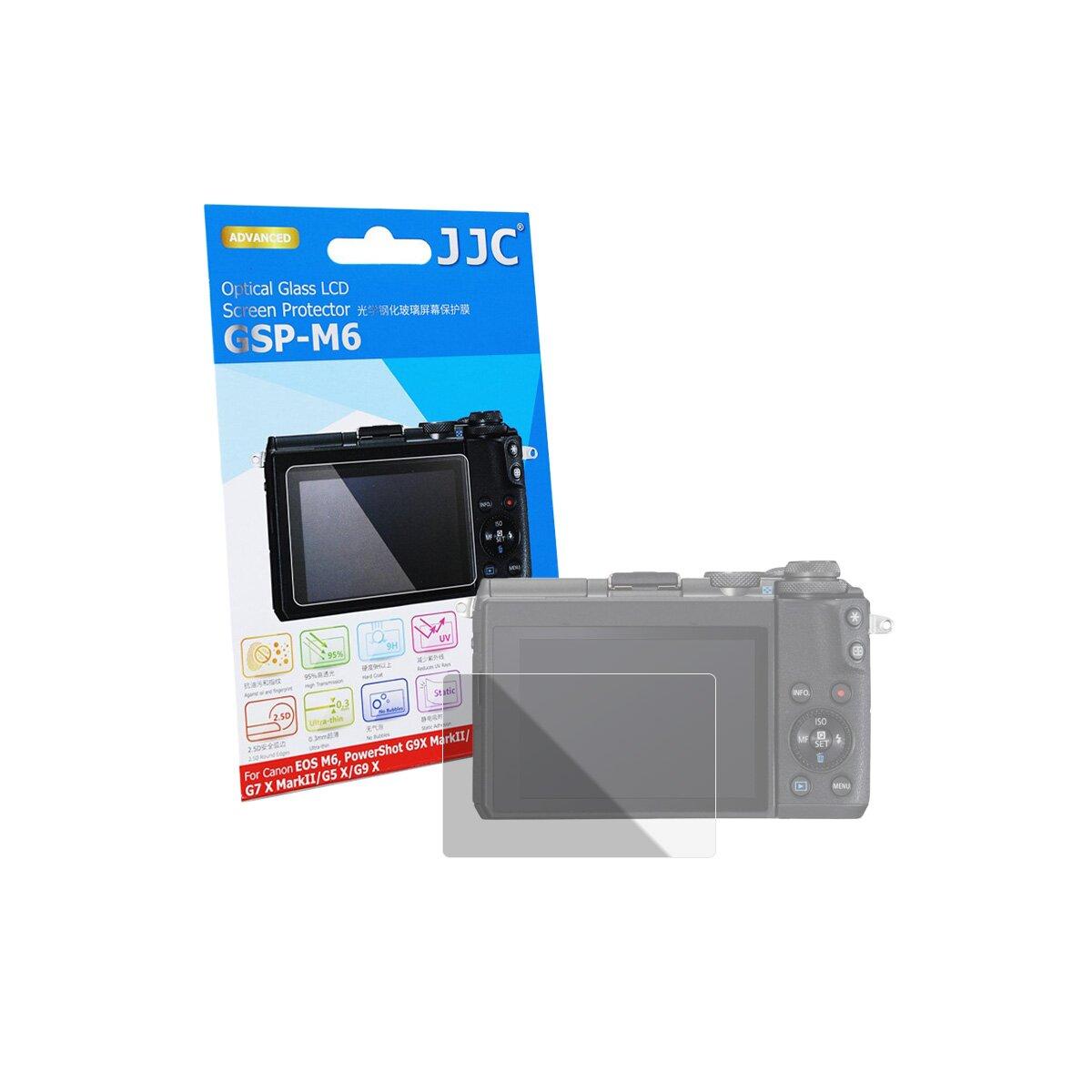 JJC GSP-M6 Hochwertiger Displayschutz Screen Protector aus gehärtetem Echtglas kompatibel mit Canon EOS M6, PowerShot G9X Mark II, G7 X Mark II, G5 X, G9 X
