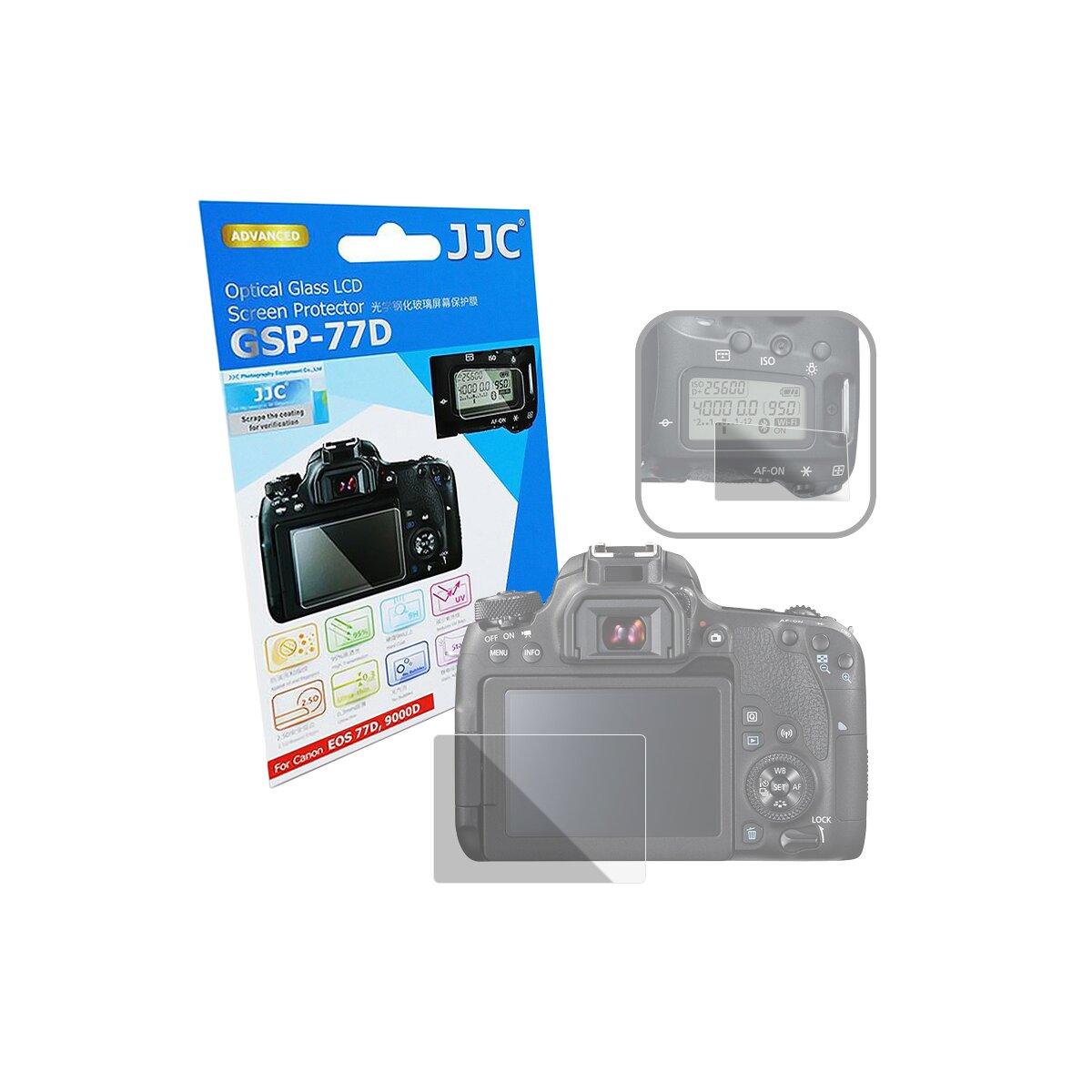 JJC GSP-77D Hochwertiger Displayschutz Screen Protector aus gehärtetem Echtglas kompatibel mit Canon EOS M77D, 9000D